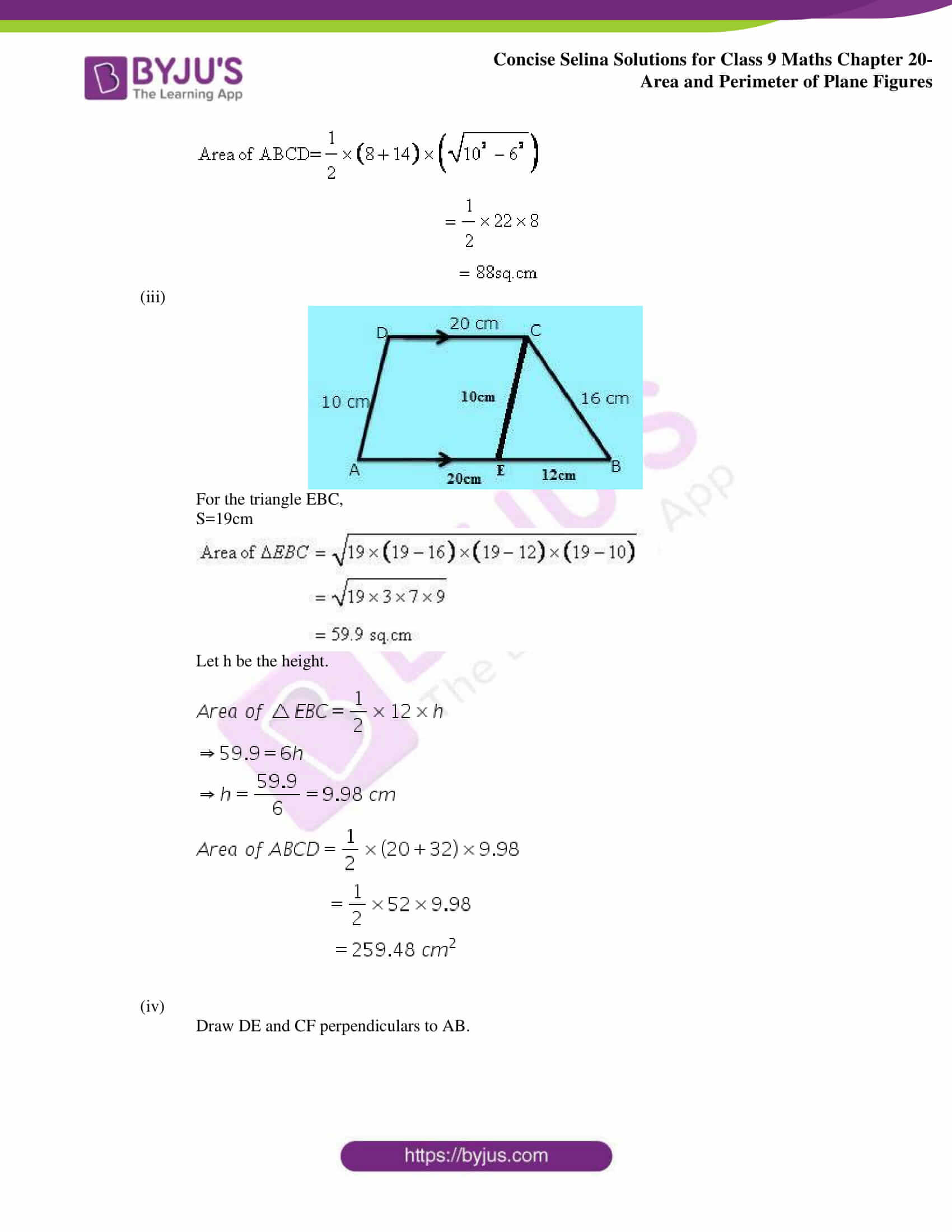 Concise Selina Solutions Class 9 Maths Chapter 20 Area and Perimeter of Plane part 27