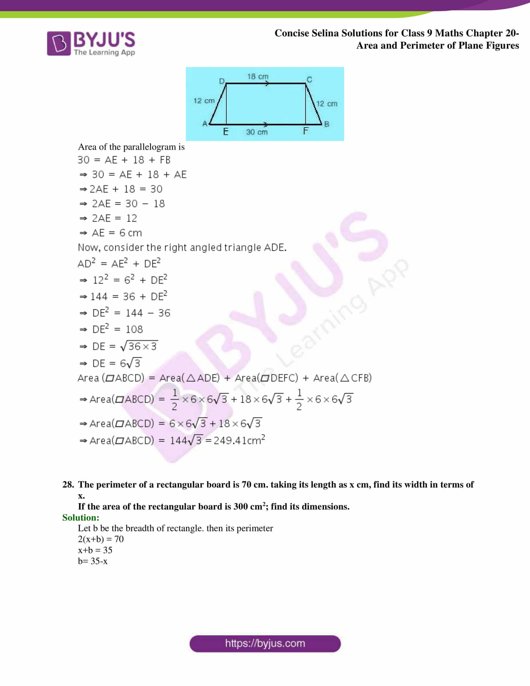 Concise Selina Solutions Class 9 Maths Chapter 20 Area and Perimeter of Plane part 28