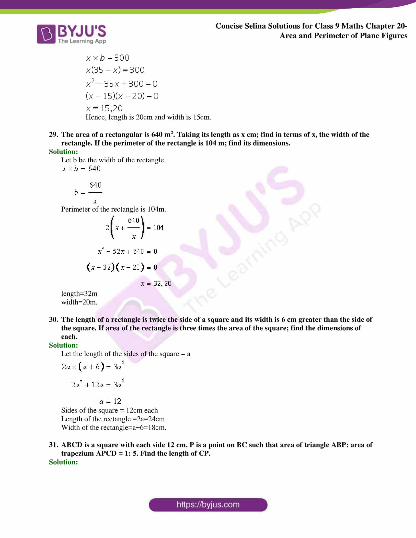 Concise Selina Solutions Class 9 Maths Chapter 20 Area and Perimeter of Plane part 29