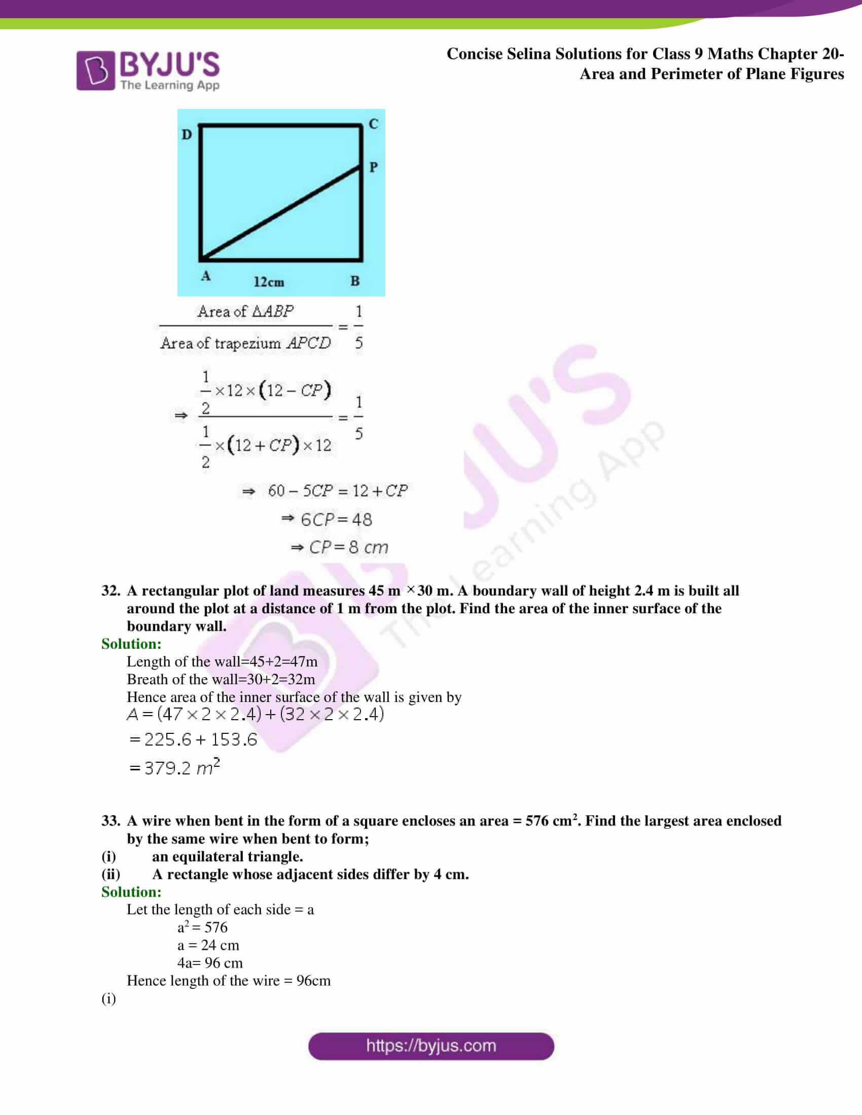 Concise Selina Solutions Class 9 Maths Chapter 20 Area and Perimeter of Plane part 30