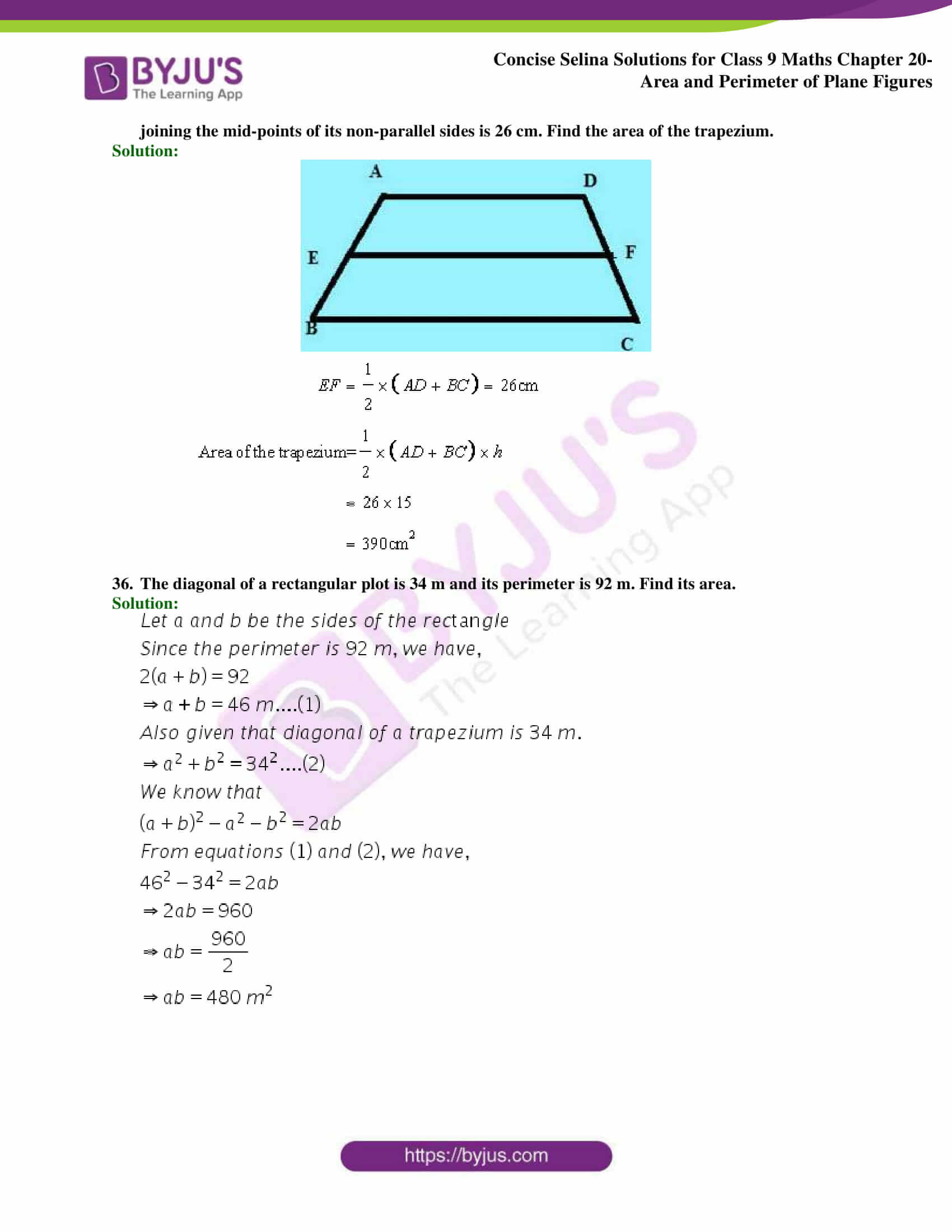 Concise Selina Solutions Class 9 Maths Chapter 20 Area and Perimeter of Plane part 32