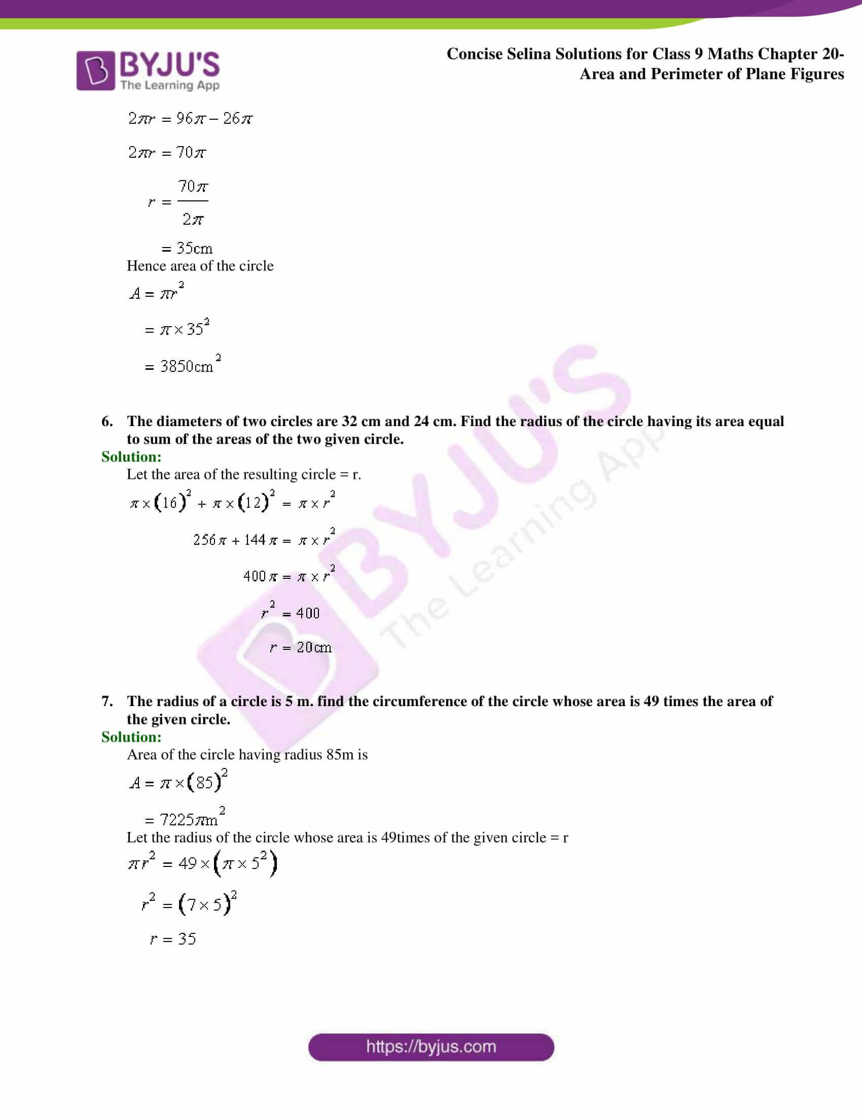 Concise Selina Solutions Class 9 Maths Chapter 20 Area and Perimeter of Plane part 35