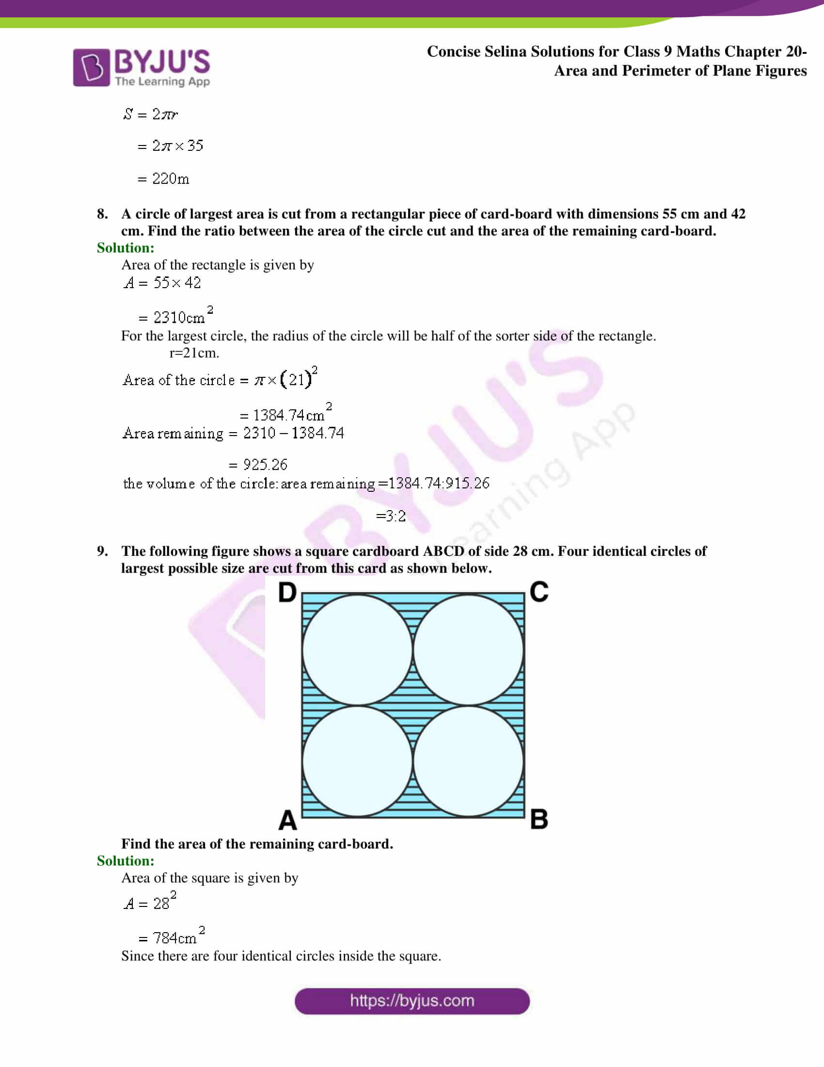 Concise Selina Solutions Class 9 Maths Chapter 20 Area and Perimeter of Plane part 36