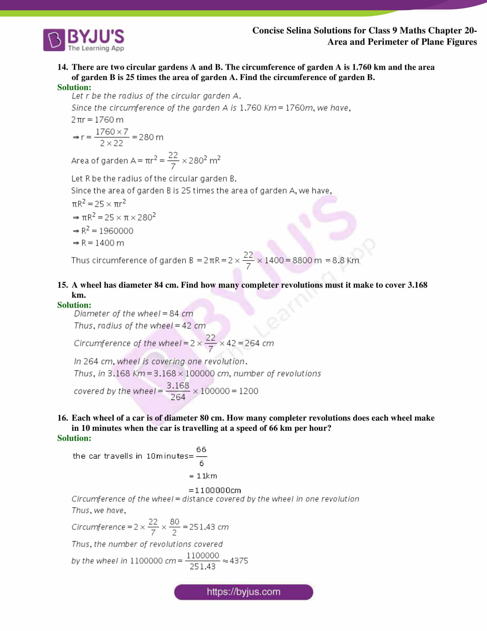 Concise Selina Solutions Class 9 Maths Chapter 20 Area and Perimeter of Plane part 39