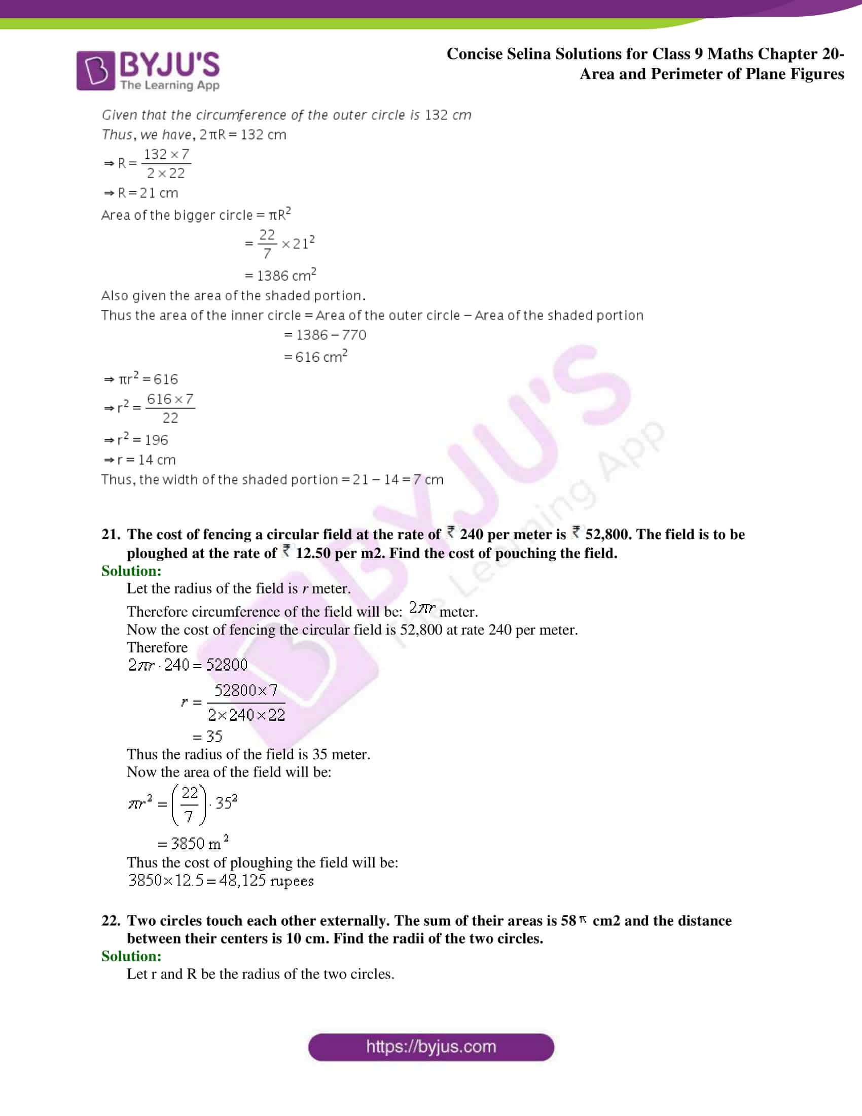 Concise Selina Solutions Class 9 Maths Chapter 20 Area and Perimeter of Plane part 42