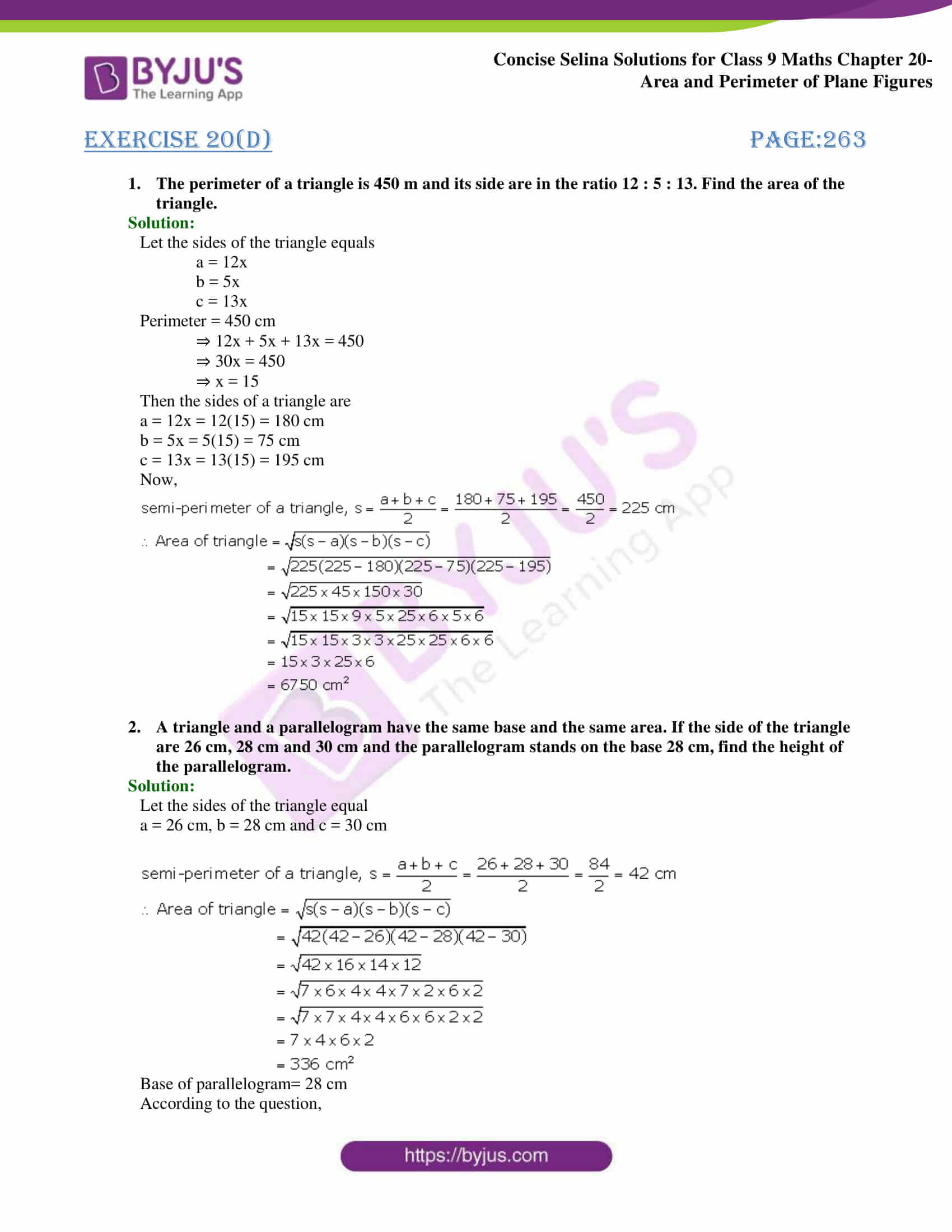 Concise Selina Solutions Class 9 Maths Chapter 20 Area and Perimeter of Plane part 45