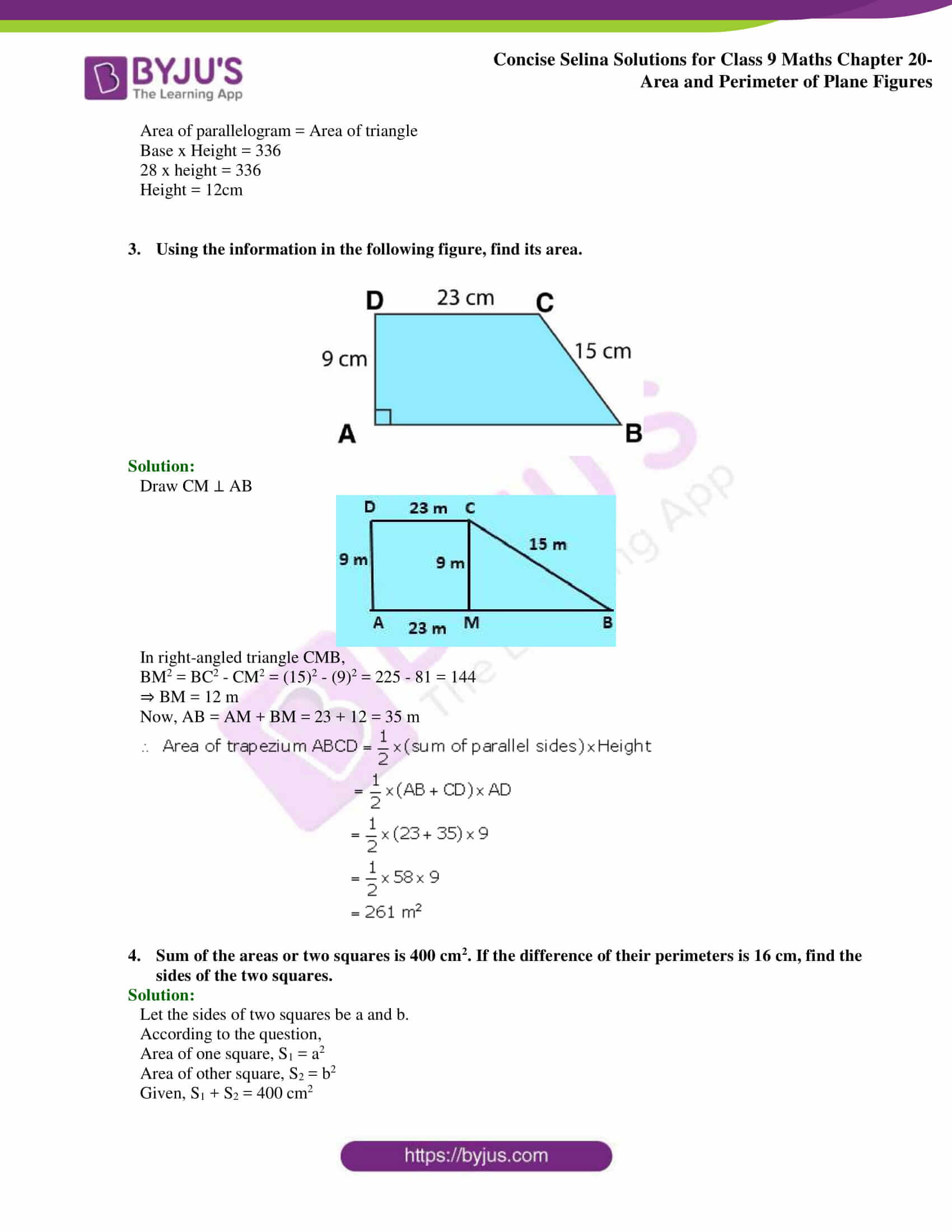 Concise Selina Solutions Class 9 Maths Chapter 20 Area and Perimeter of Plane part 46