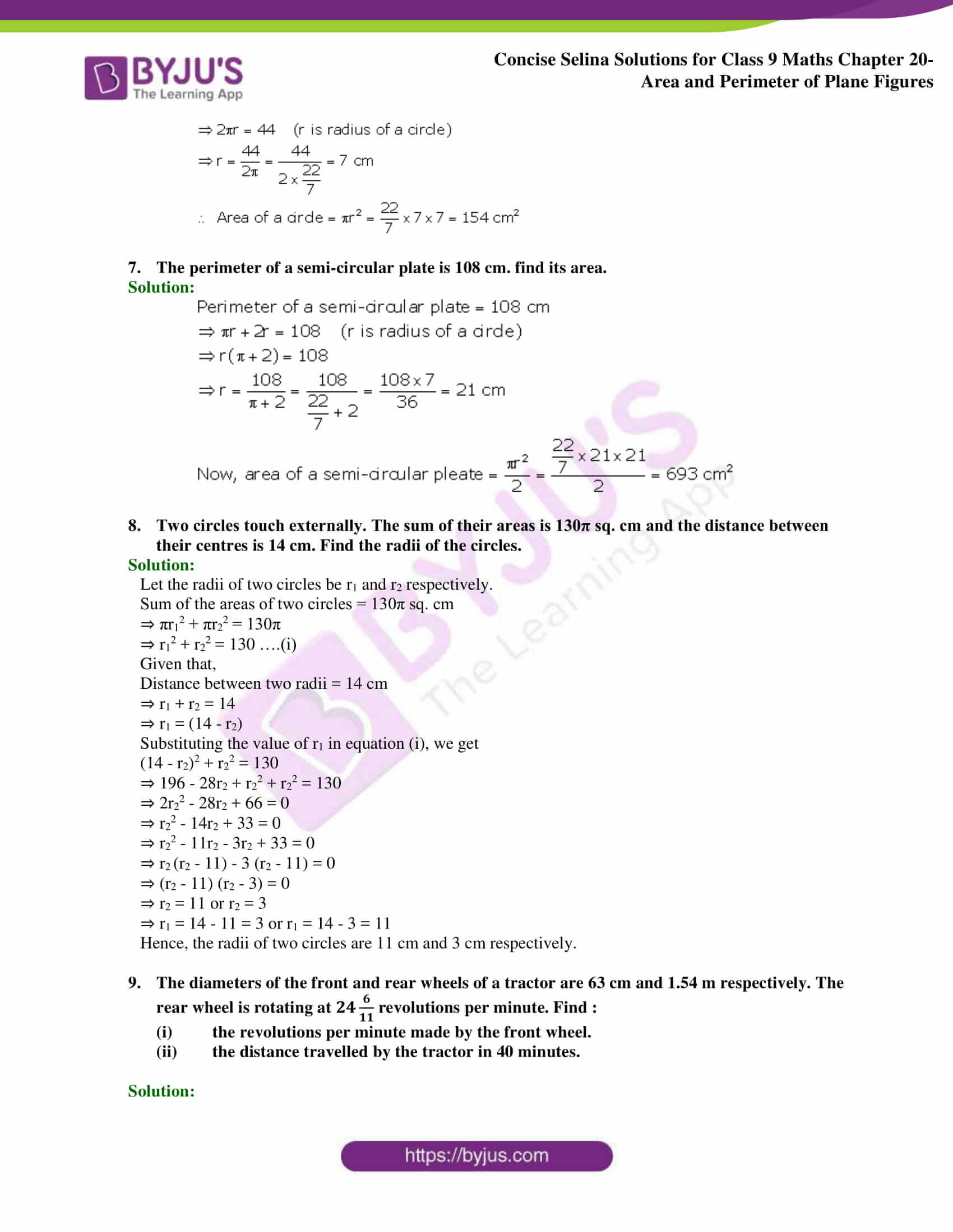 Concise Selina Solutions Class 9 Maths Chapter 20 Area and Perimeter of Plane part 48