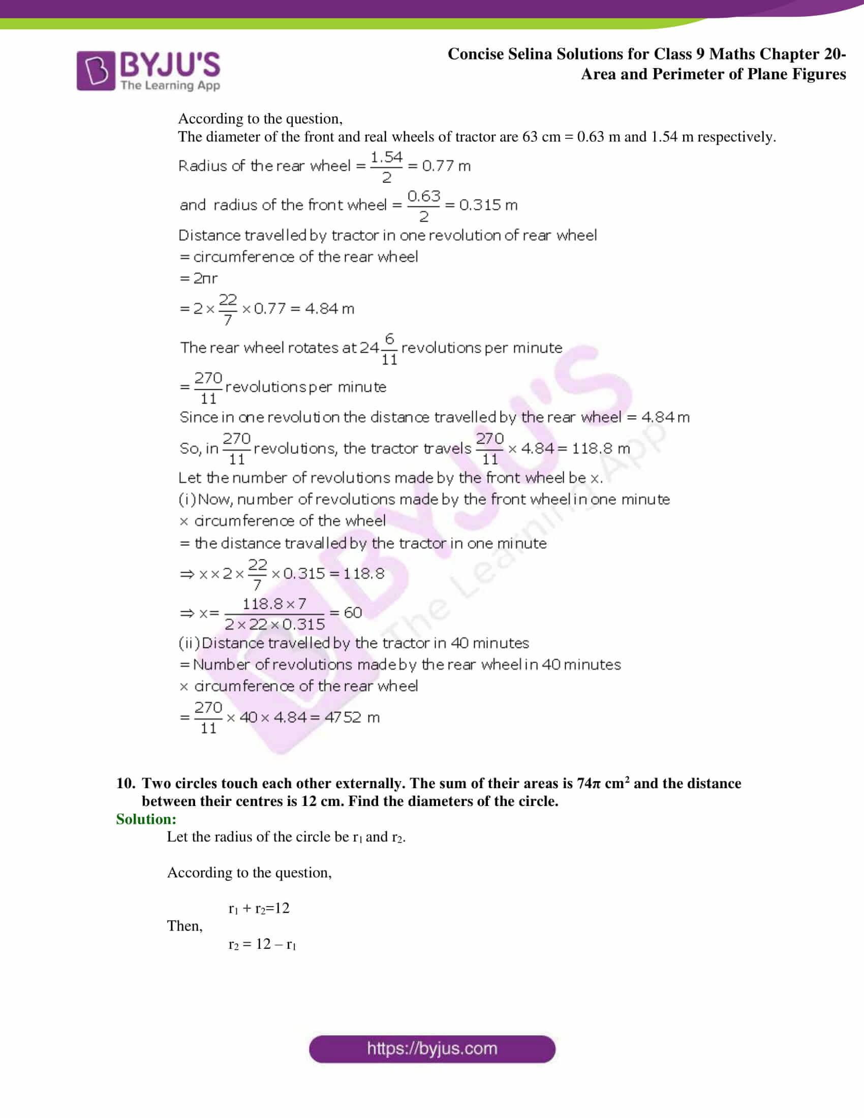 Concise Selina Solutions Class 9 Maths Chapter 20 Area and Perimeter of Plane part 49