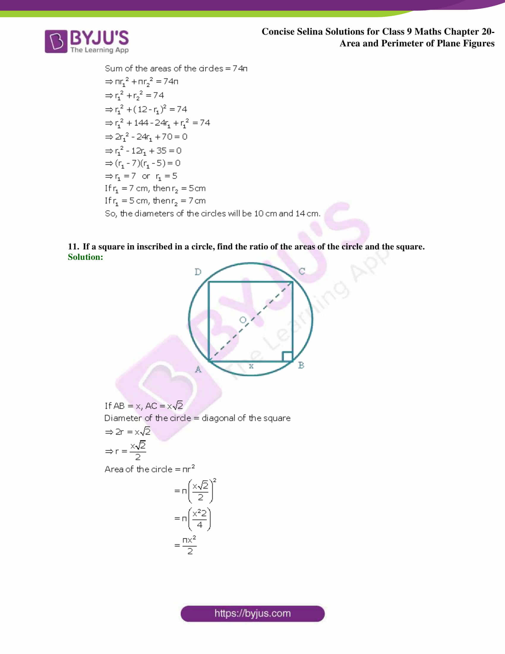 Concise Selina Solutions Class 9 Maths Chapter 20 Area and Perimeter of Plane part 50