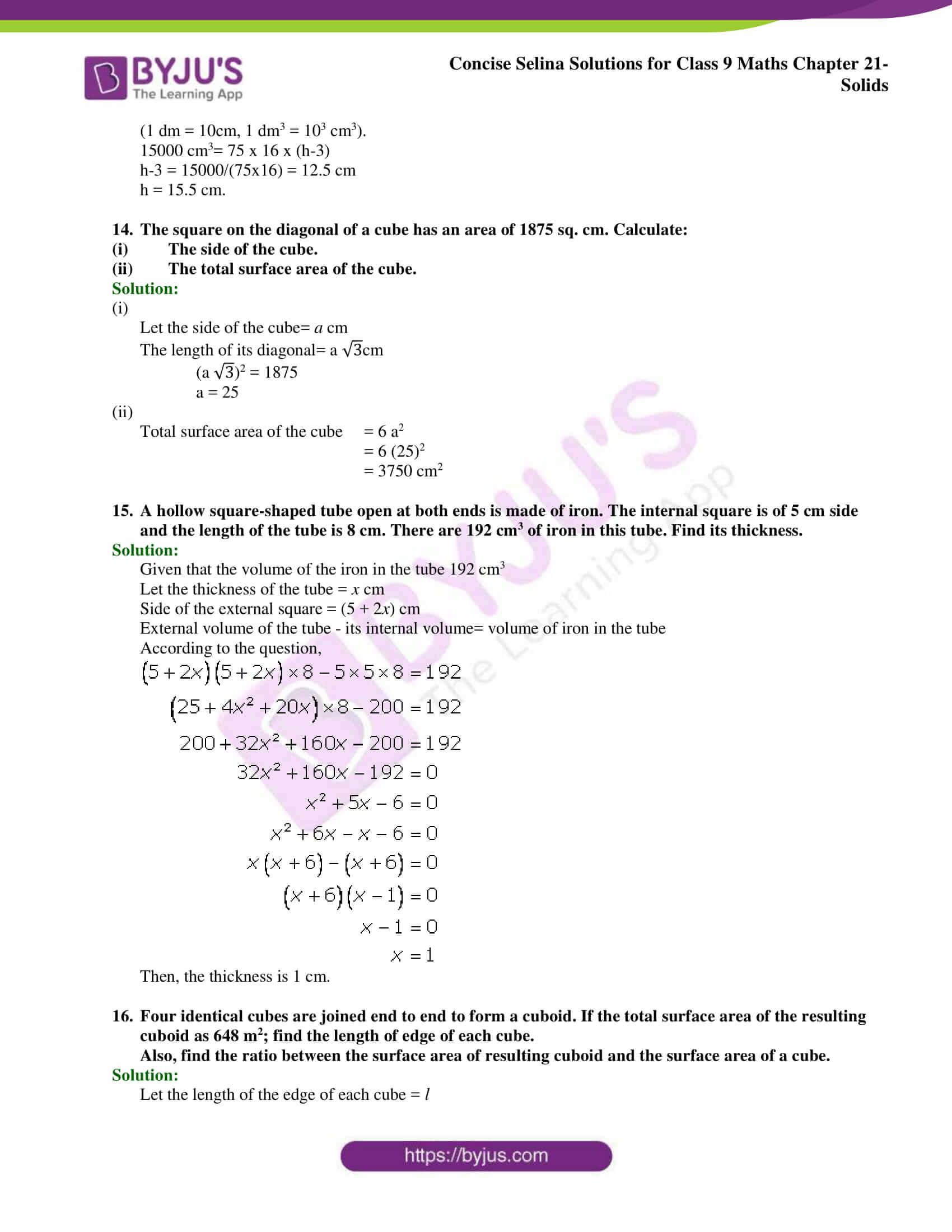 Concise Selina Solutions Class 9 Maths Chapter 21 Solids part 05