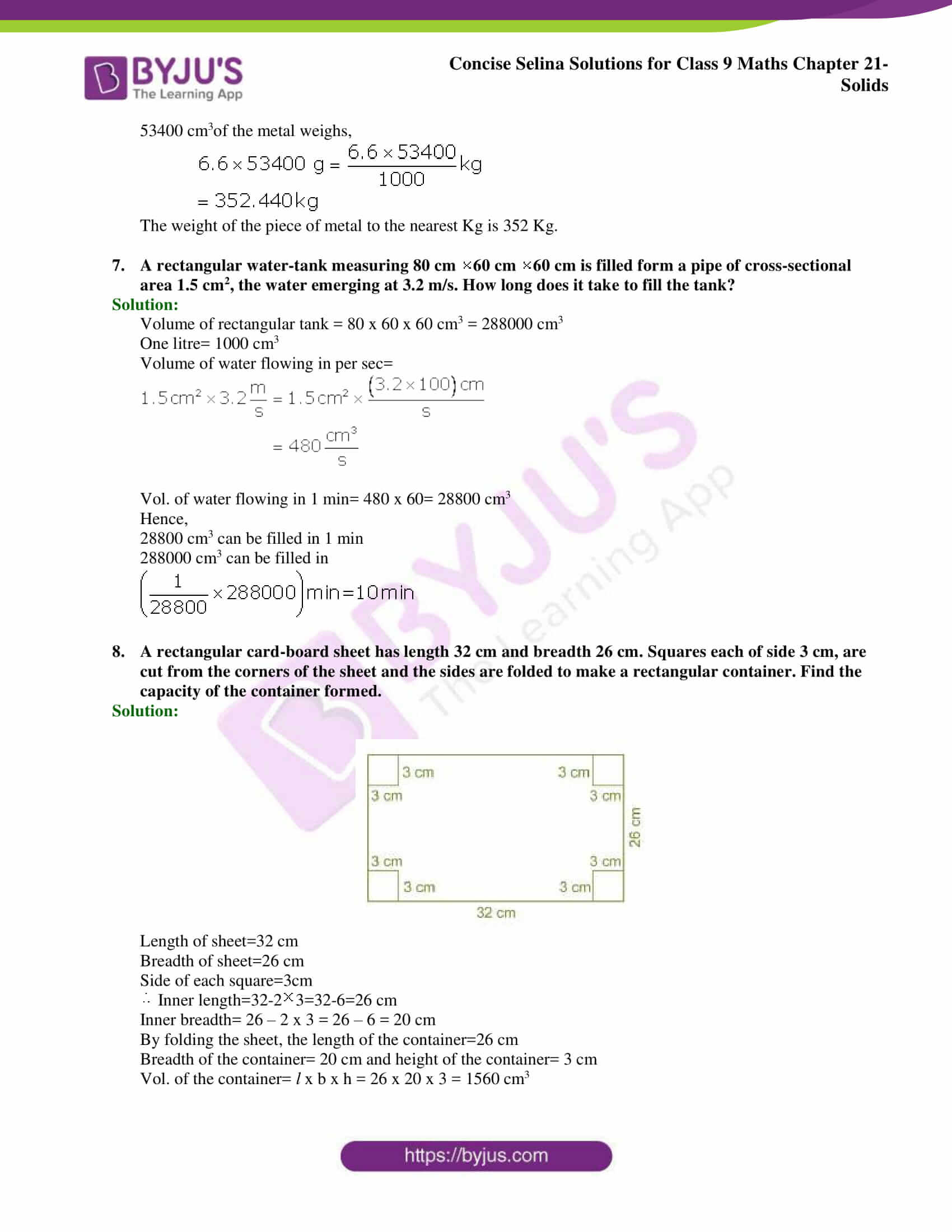 Concise Selina Solutions Class 9 Maths Chapter 21 Solids part 11
