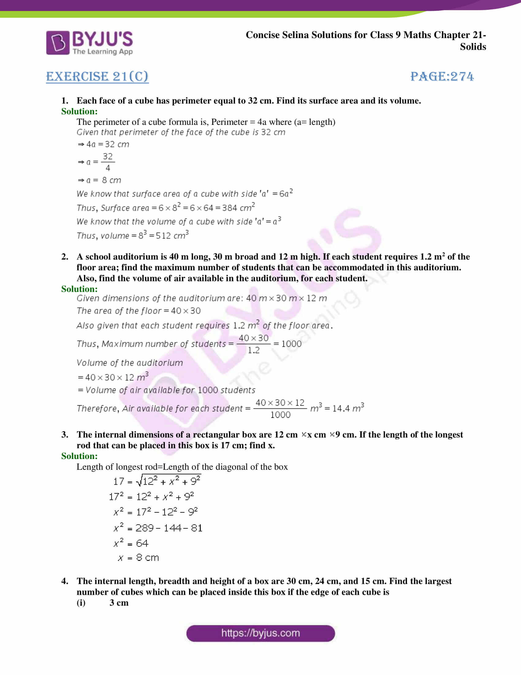 Concise Selina Solutions Class 9 Maths Chapter 21 Solids part 13
