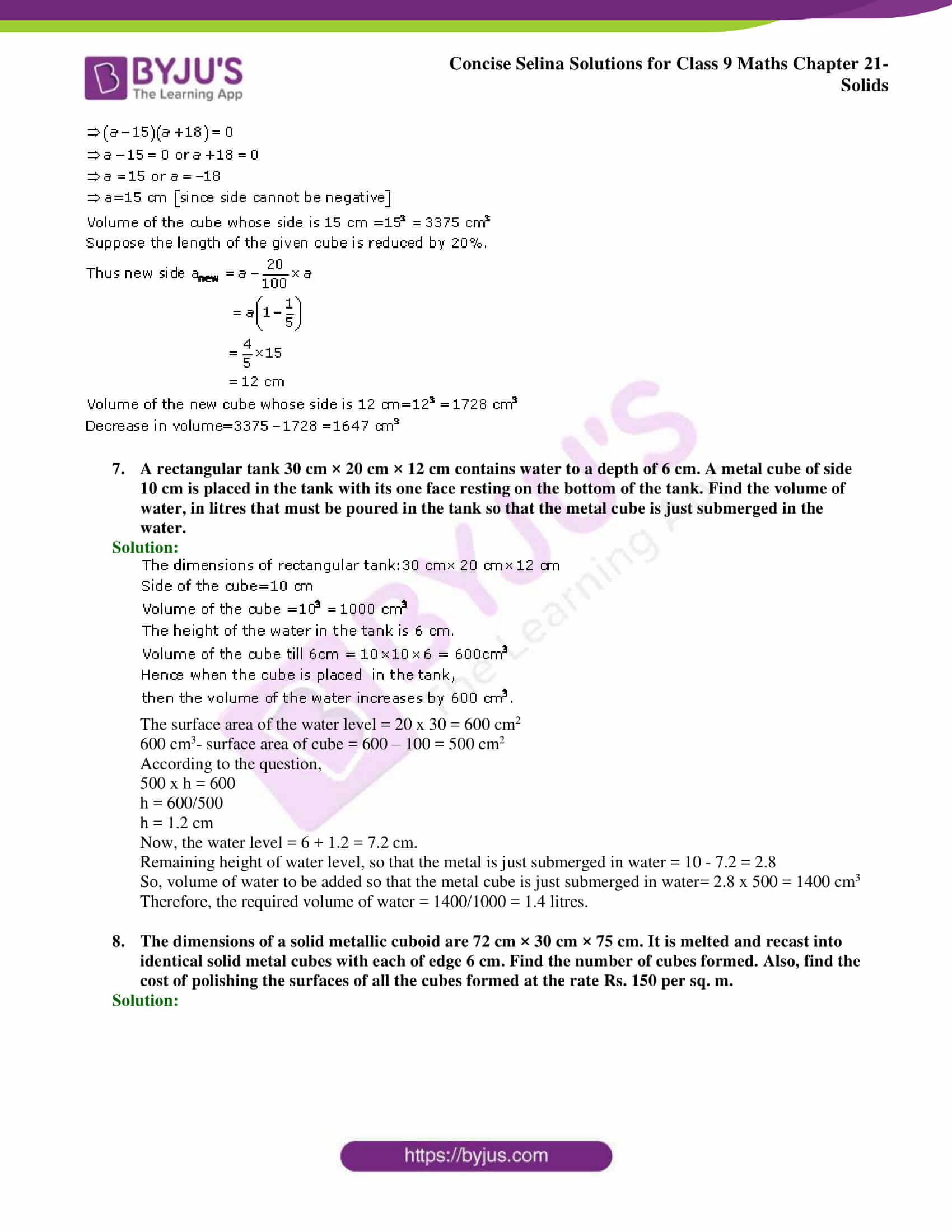 Concise Selina Solutions Class 9 Maths Chapter 21 Solids part 15