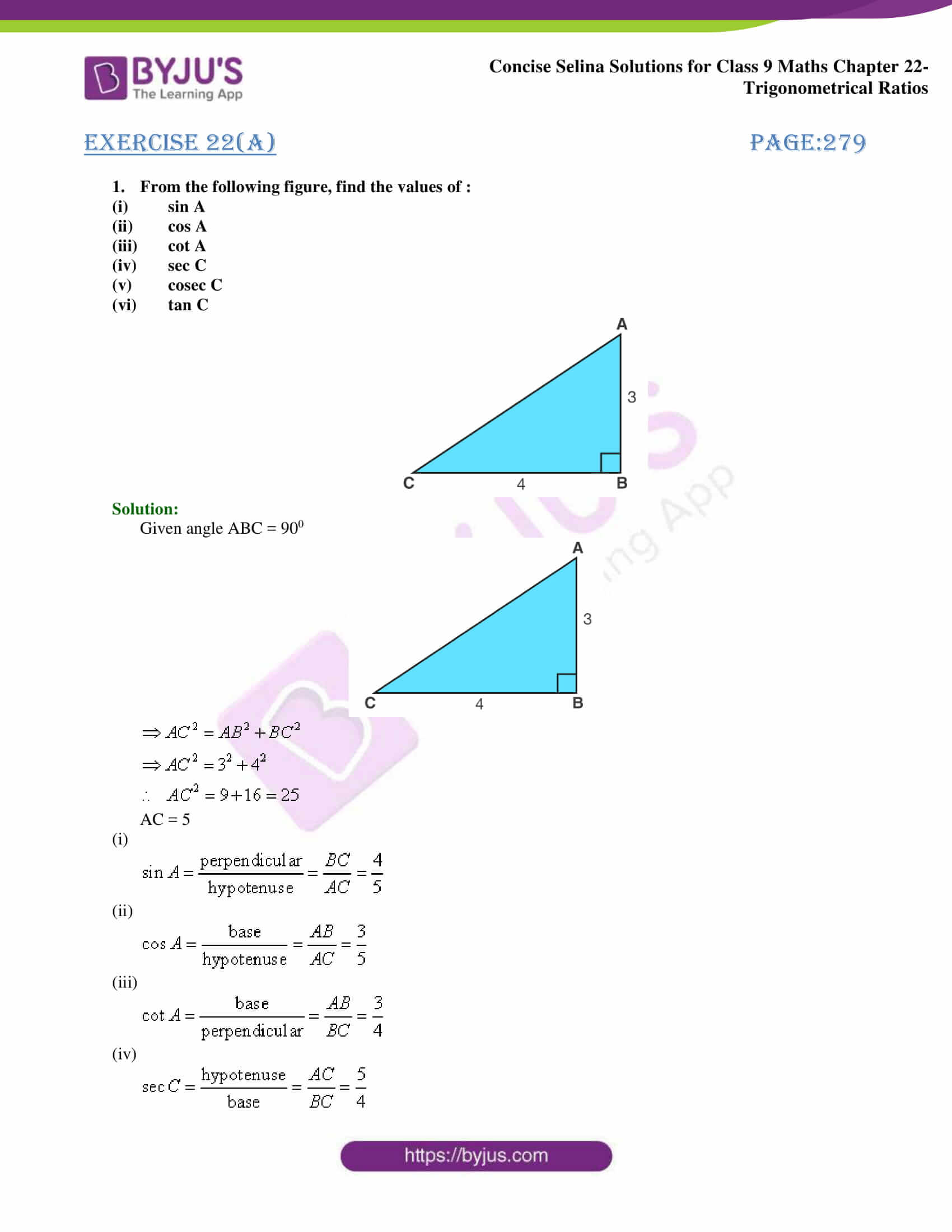 Concise Selina Solutions Class 9 Maths Chapter 22 Trigonometrical Ratios part 01