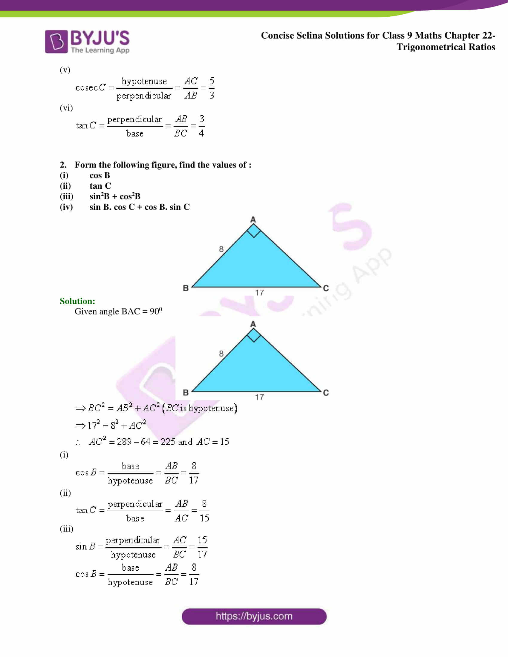 Concise Selina Solutions Class 9 Maths Chapter 22 Trigonometrical Ratios part 02