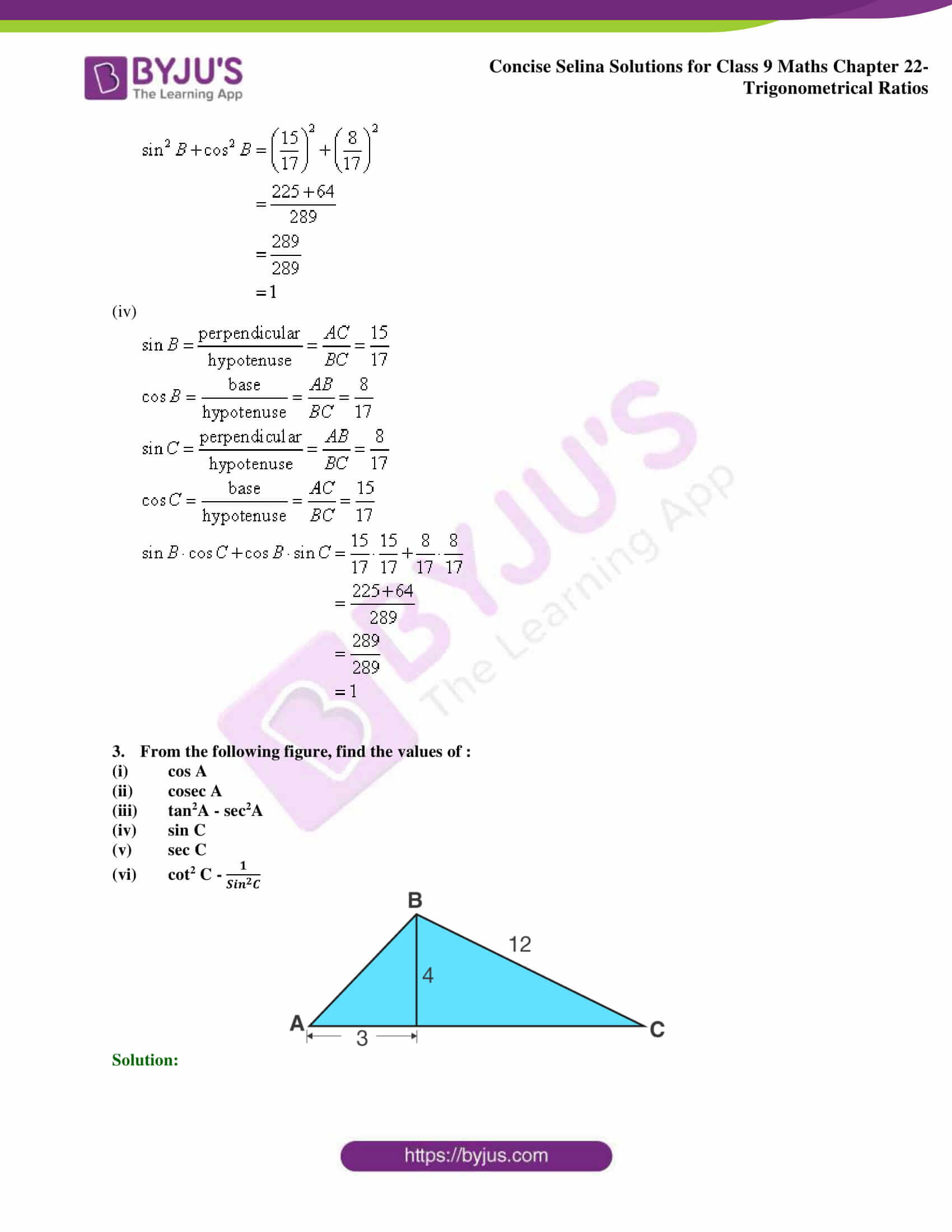 Concise Selina Solutions Class 9 Maths Chapter 22 Trigonometrical Ratios part 03