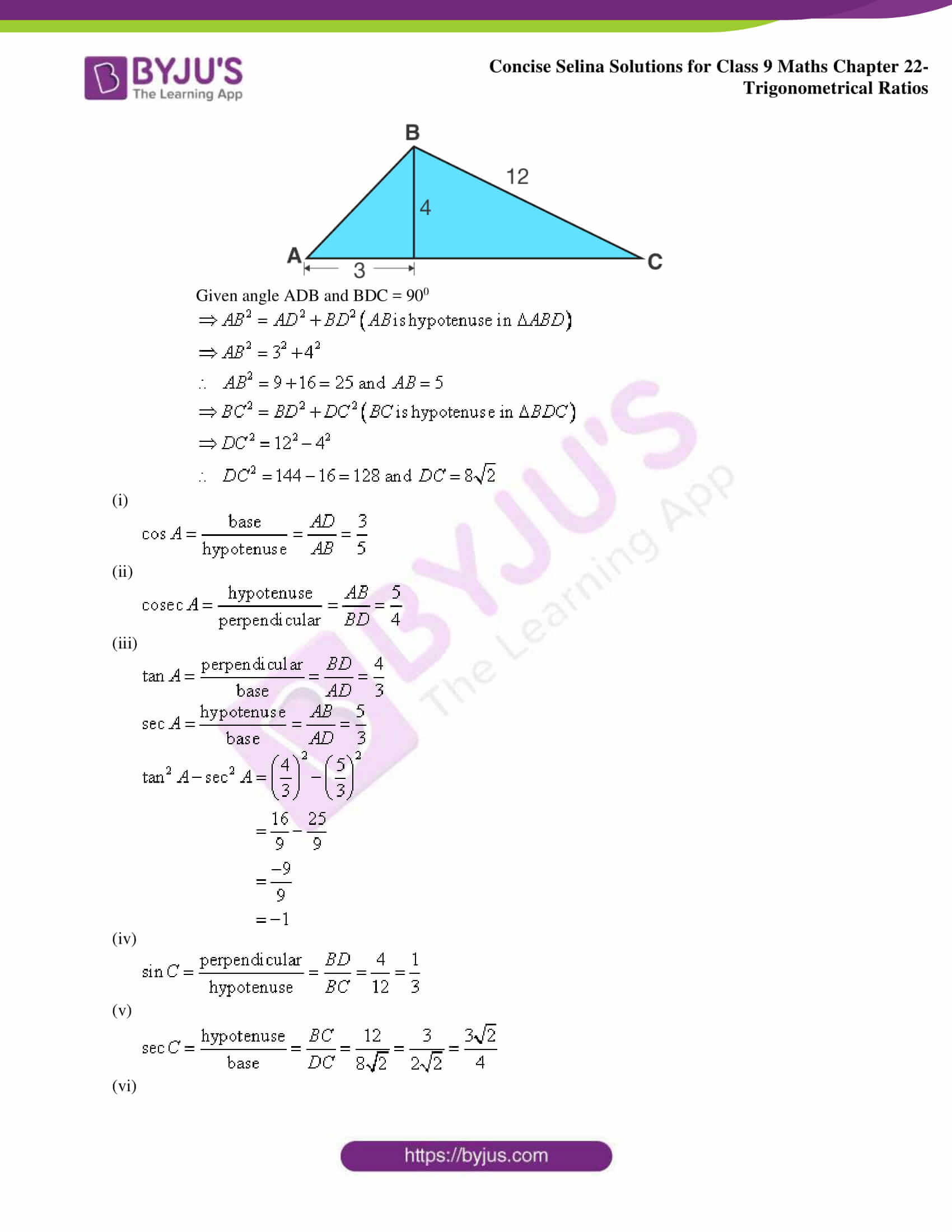 Concise Selina Solutions Class 9 Maths Chapter 22 Trigonometrical Ratios part 04