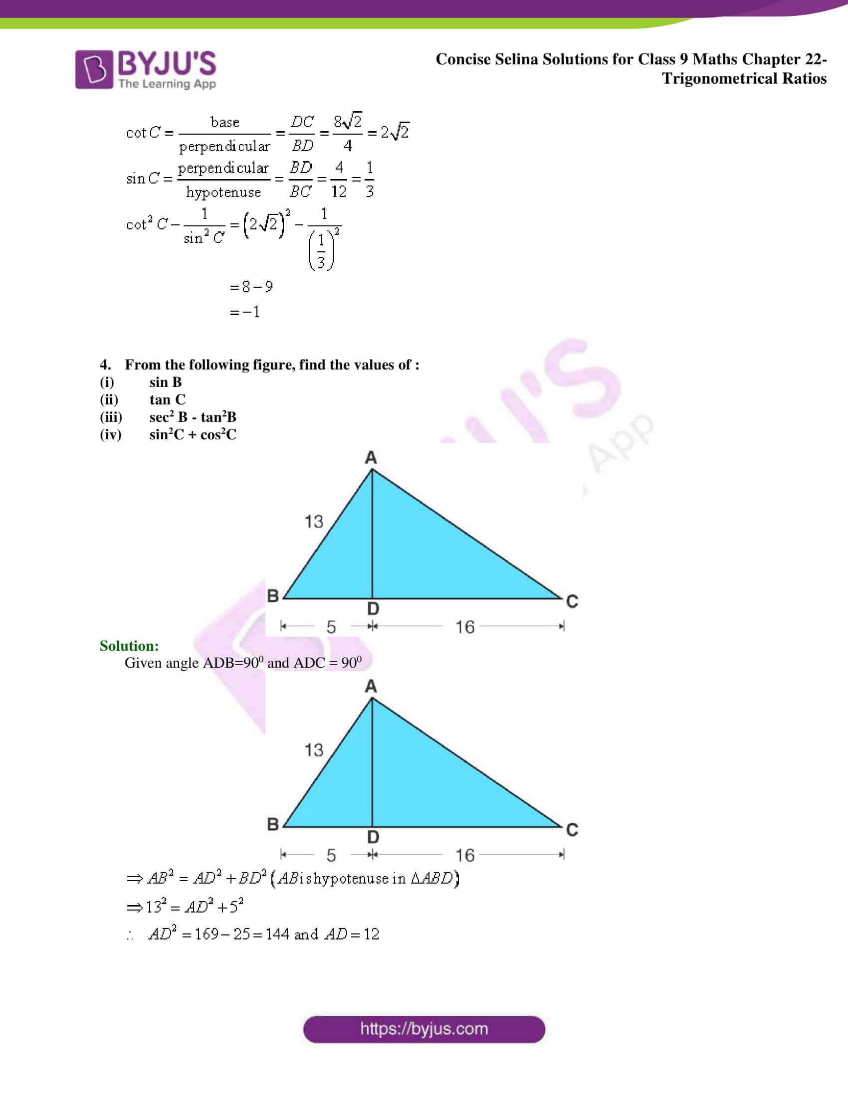 Concise Selina Solutions Class 9 Maths Chapter 22 Trigonometrical Ratios part 05