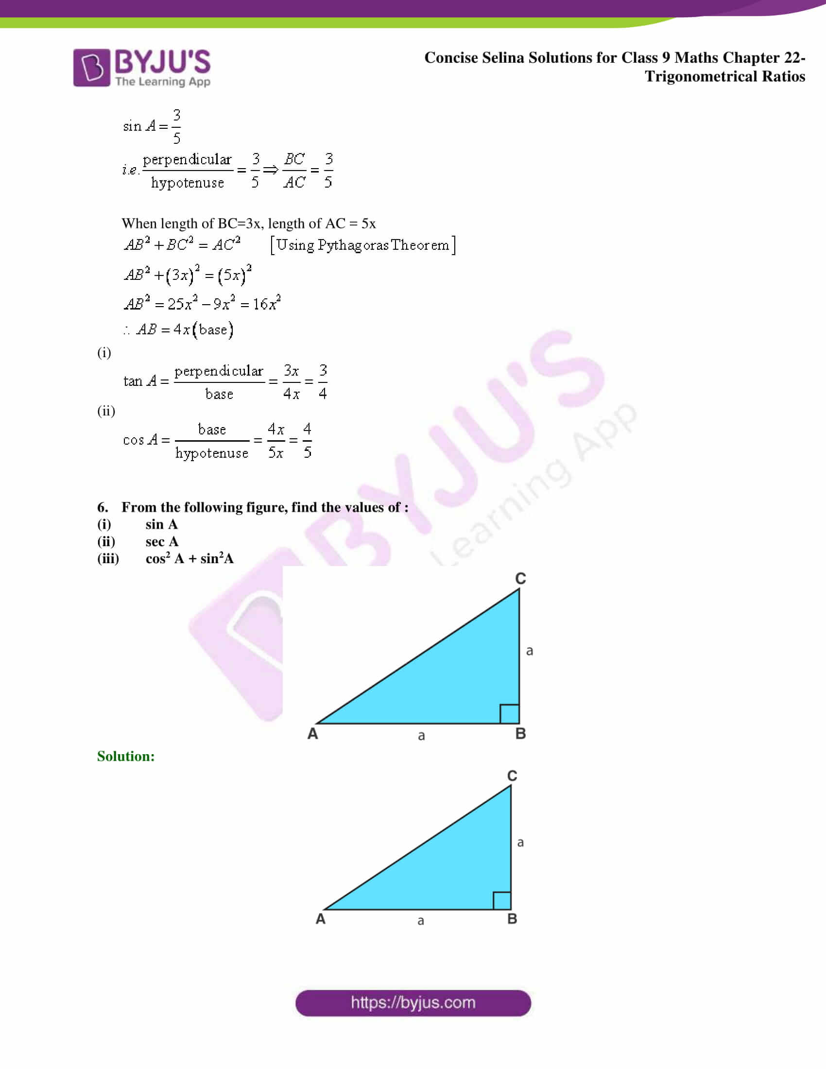 Concise Selina Solutions Class 9 Maths Chapter 22 Trigonometrical Ratios part 07