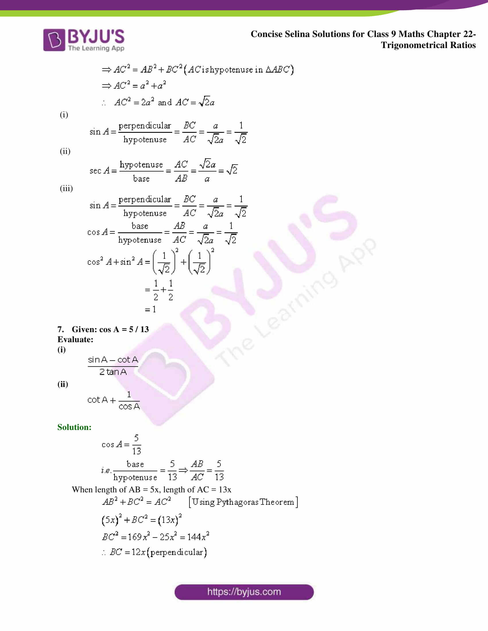 Concise Selina Solutions Class 9 Maths Chapter 22 Trigonometrical Ratios part 08