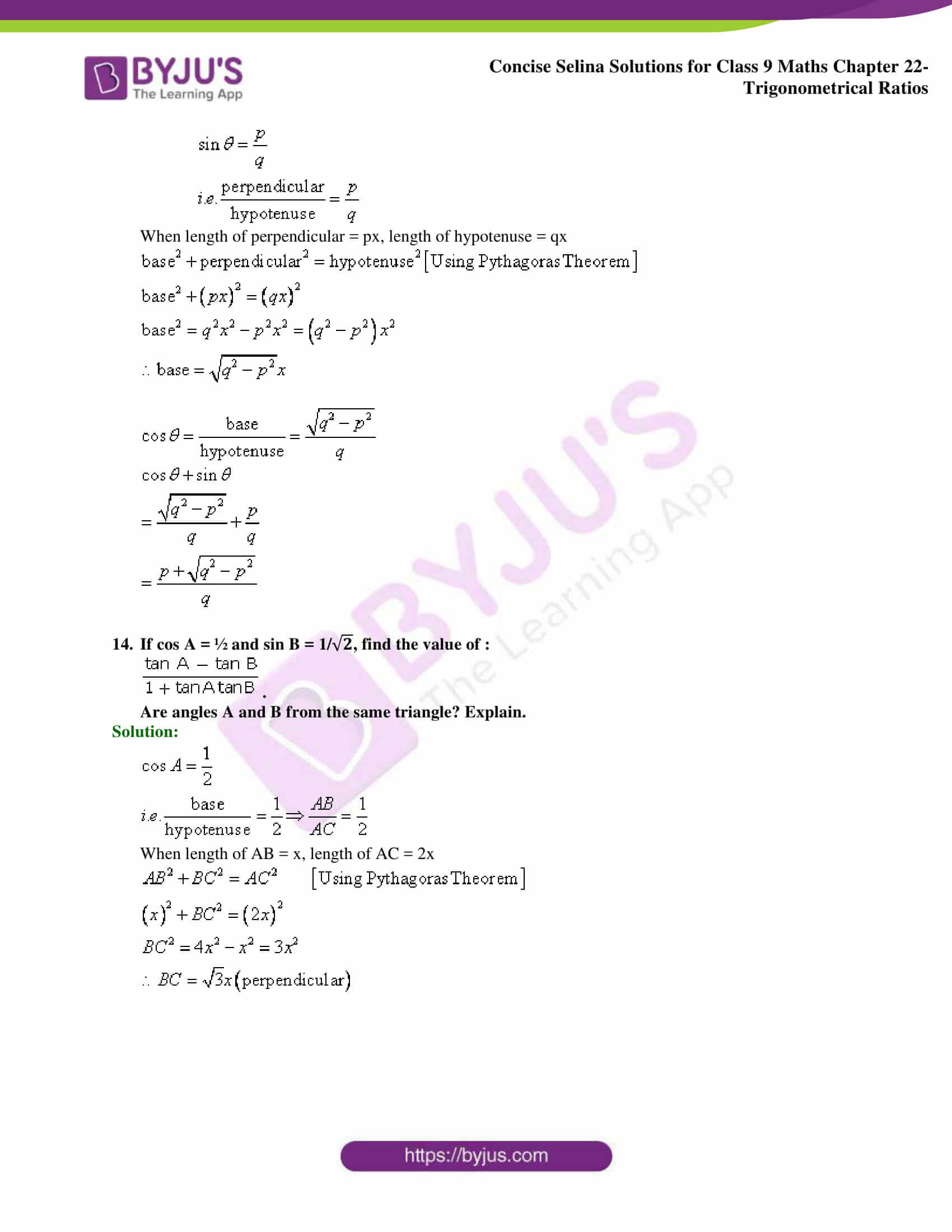 Concise Selina Solutions Class 9 Maths Chapter 22 Trigonometrical Ratios part 14