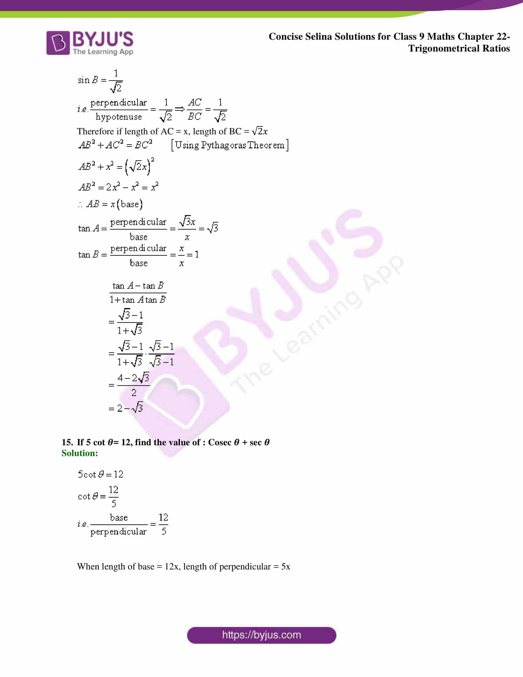 Concise Selina Solutions Class 9 Maths Chapter 22 Trigonometrical Ratios part 15