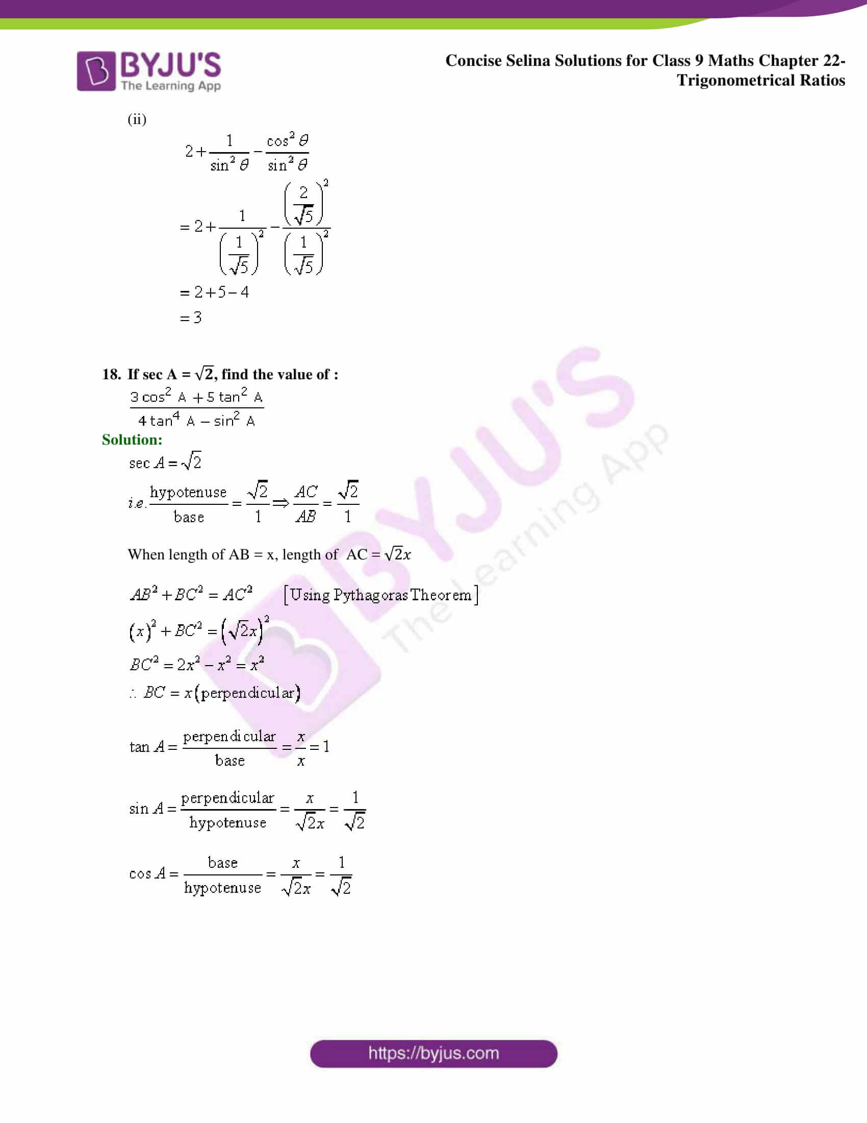 Concise Selina Solutions Class 9 Maths Chapter 22 Trigonometrical Ratios part 18