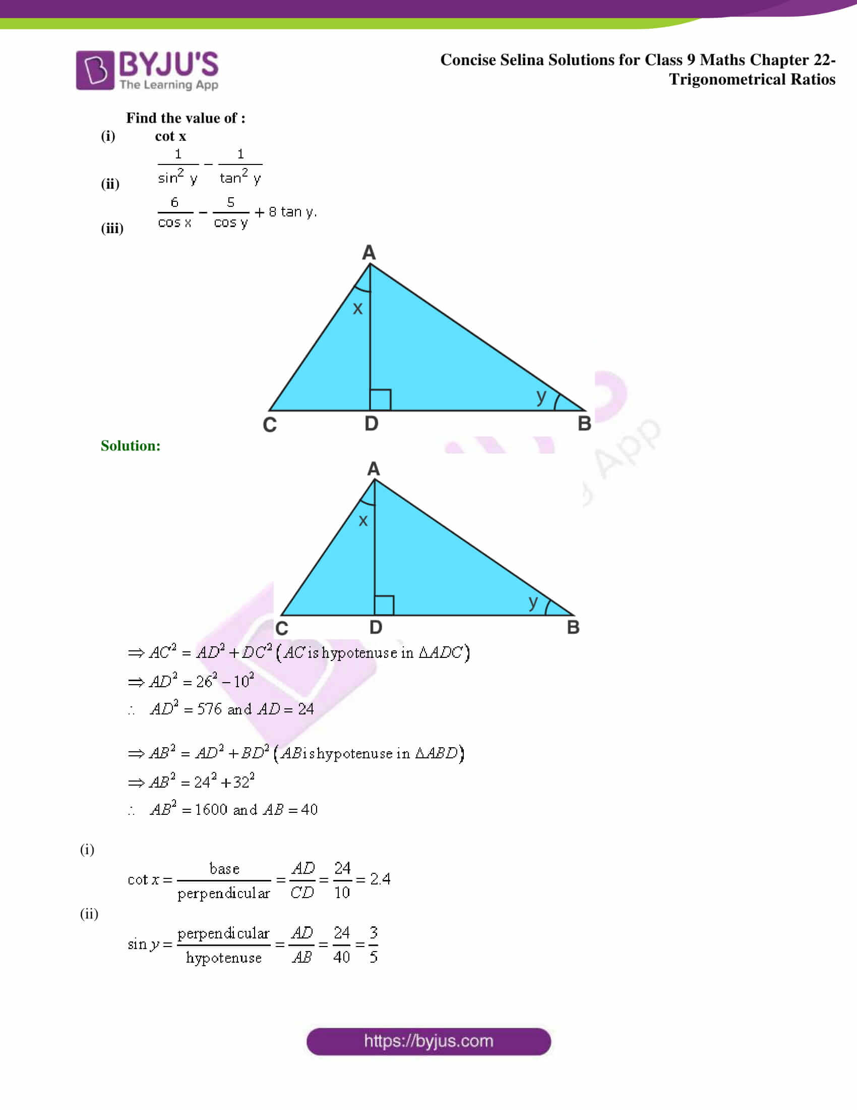 Concise Selina Solutions Class 9 Maths Chapter 22 Trigonometrical Ratios part 20