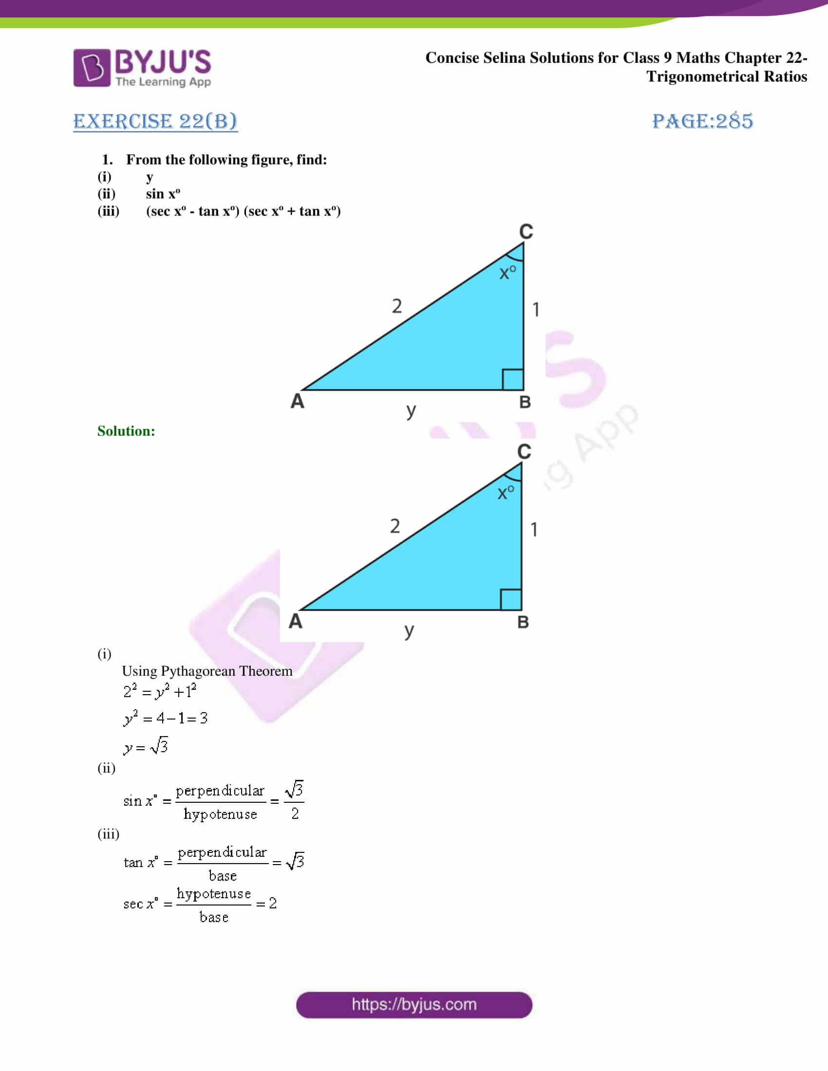 Concise Selina Solutions Class 9 Maths Chapter 22 Trigonometrical Ratios part 22