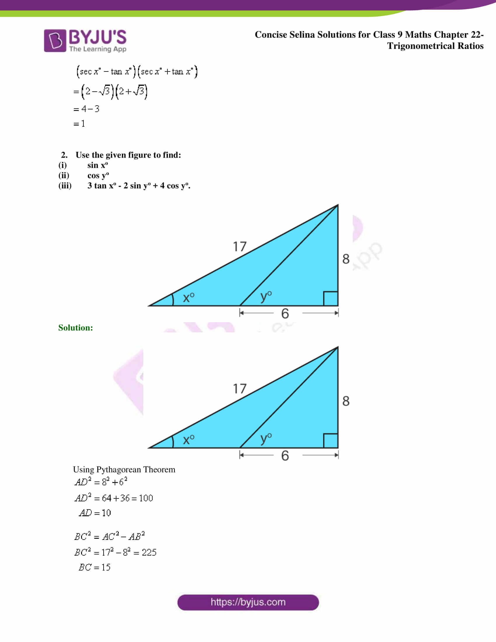Concise Selina Solutions Class 9 Maths Chapter 22 Trigonometrical Ratios part 23