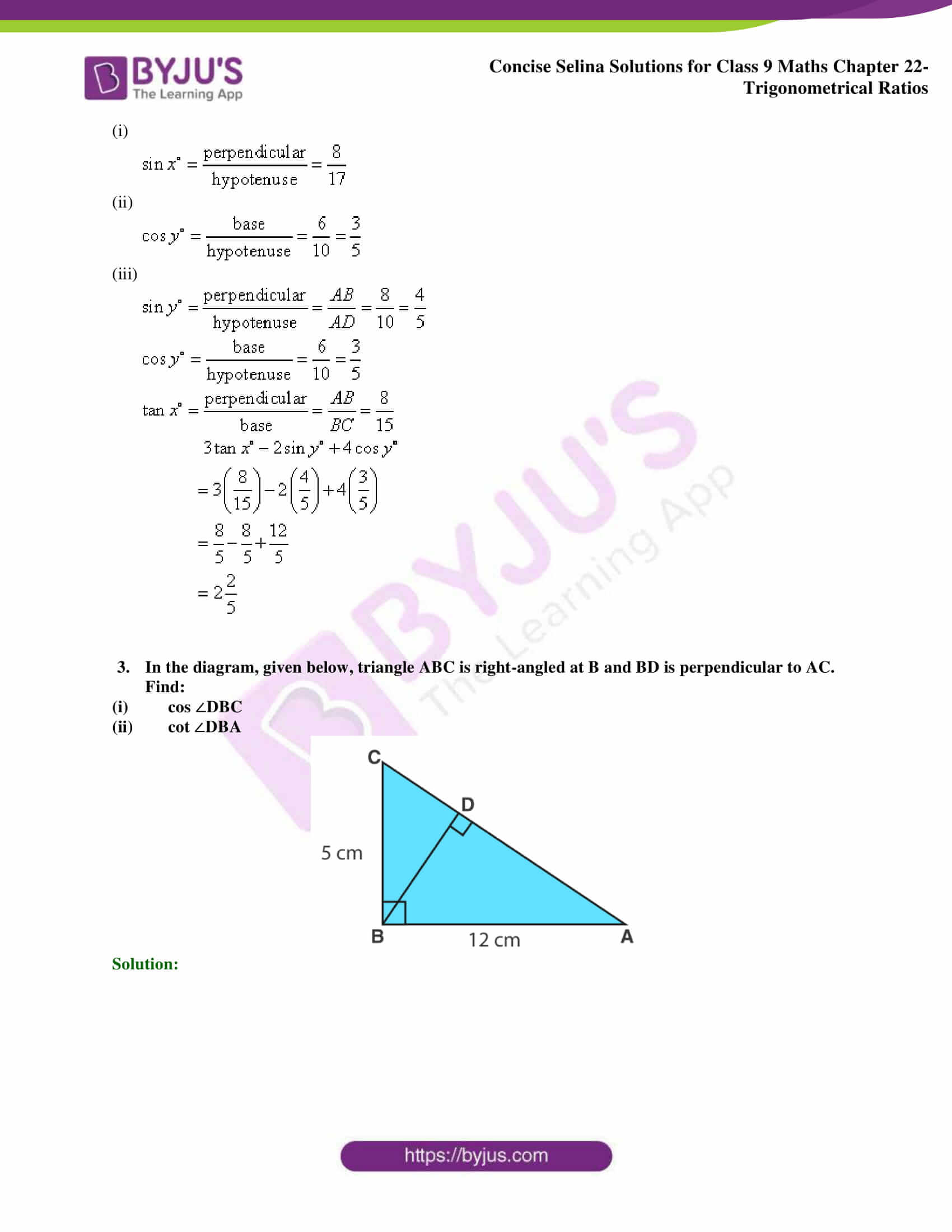 Concise Selina Solutions Class 9 Maths Chapter 22 Trigonometrical Ratios part 24