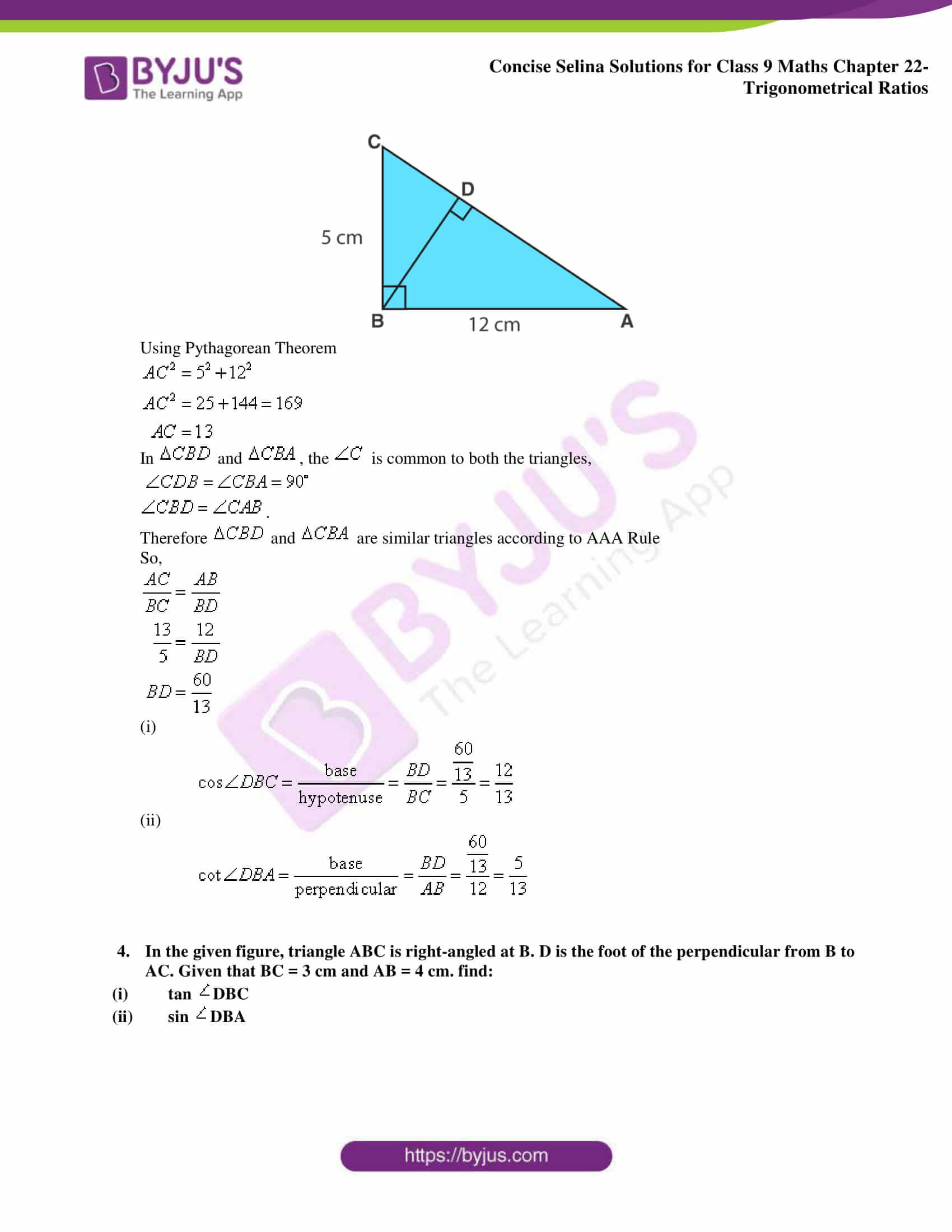 Concise Selina Solutions Class 9 Maths Chapter 22 Trigonometrical Ratios part 25