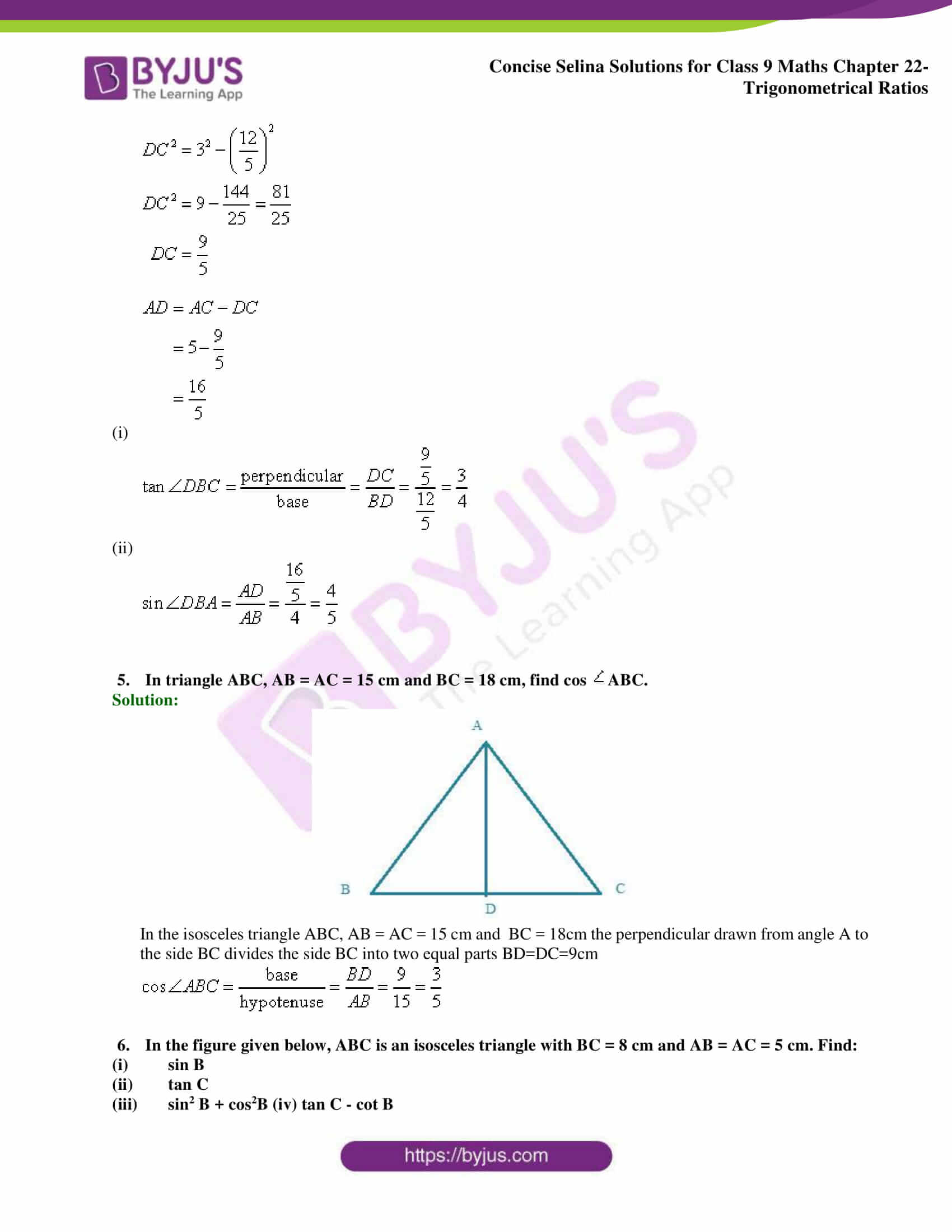 Concise Selina Solutions Class 9 Maths Chapter 22 Trigonometrical Ratios part 27