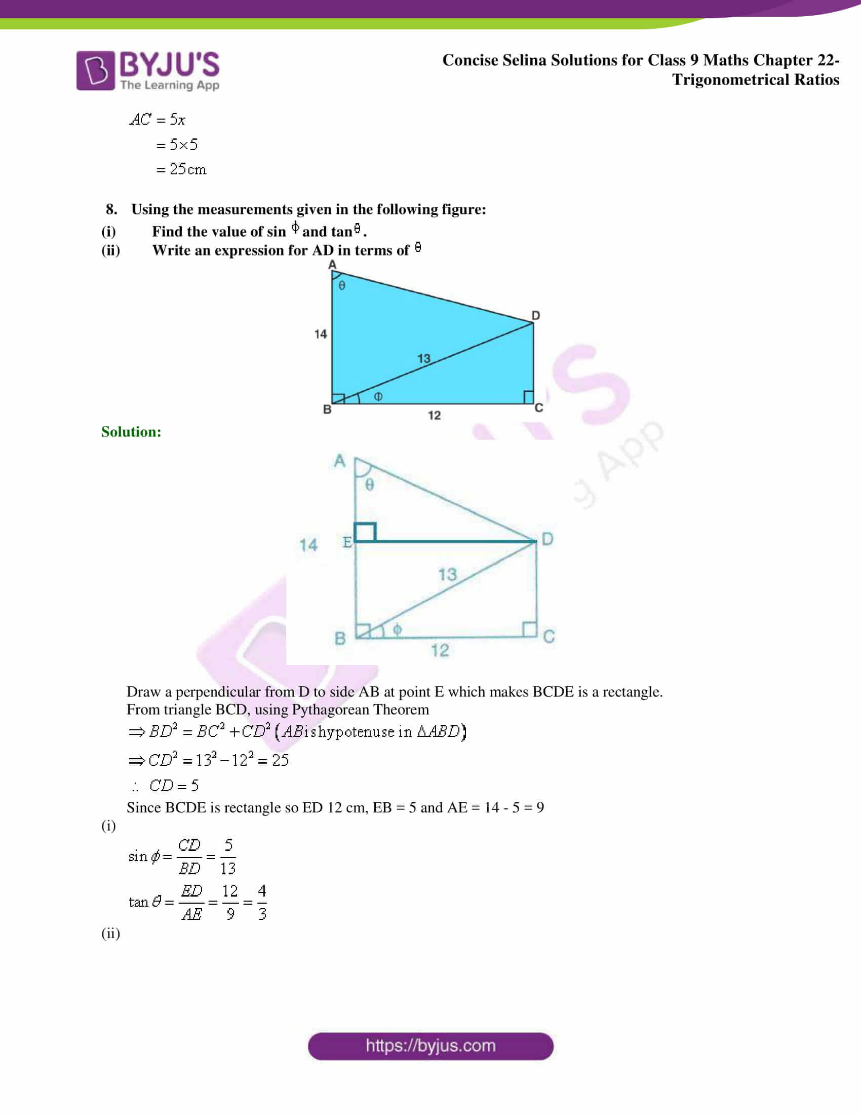 Concise Selina Solutions Class 9 Maths Chapter 22 Trigonometrical Ratios part 30