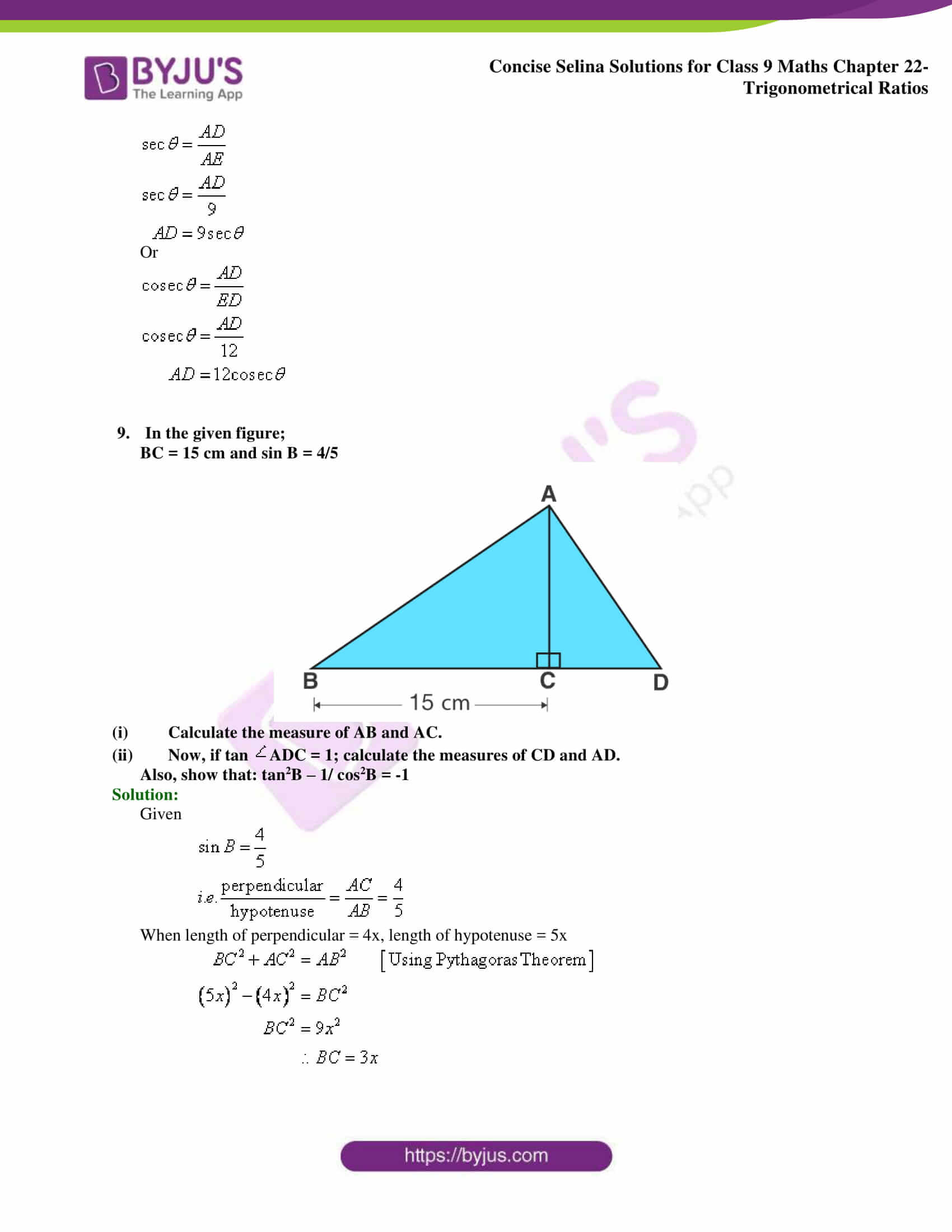 Concise Selina Solutions Class 9 Maths Chapter 22 Trigonometrical Ratios part 31