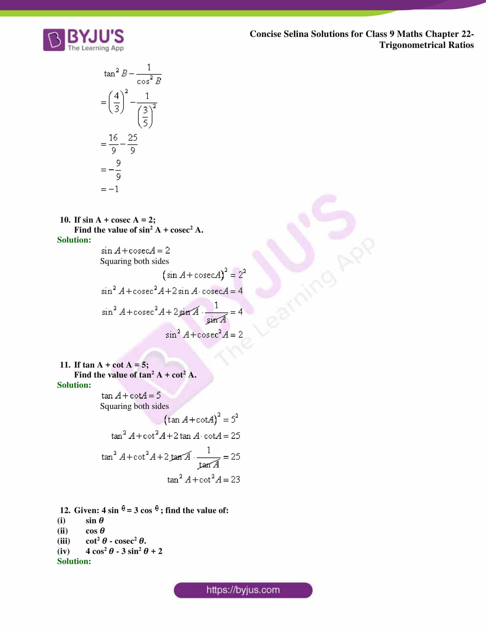 Concise Selina Solutions Class 9 Maths Chapter 22 Trigonometrical Ratios part 33