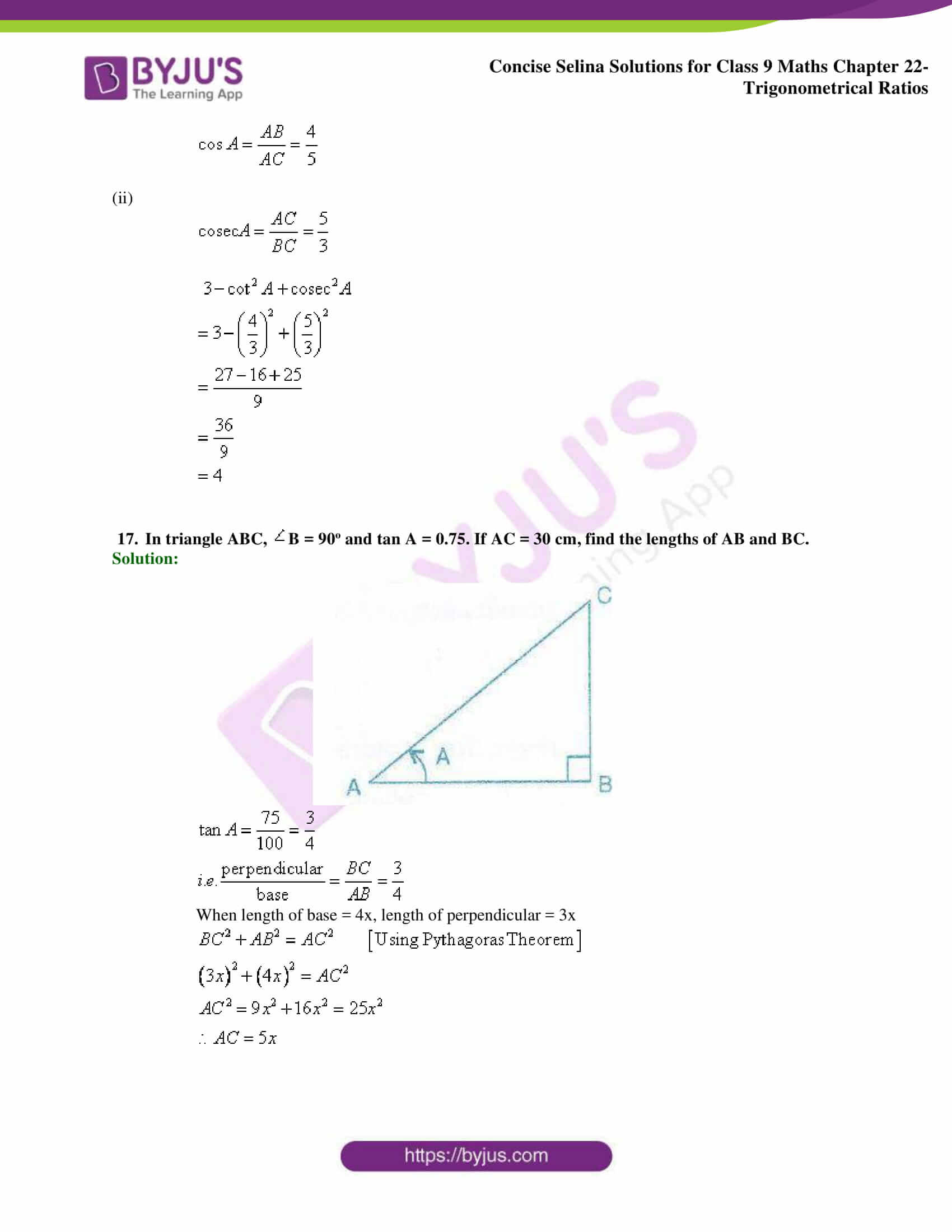 Concise Selina Solutions Class 9 Maths Chapter 22 Trigonometrical Ratios part 38