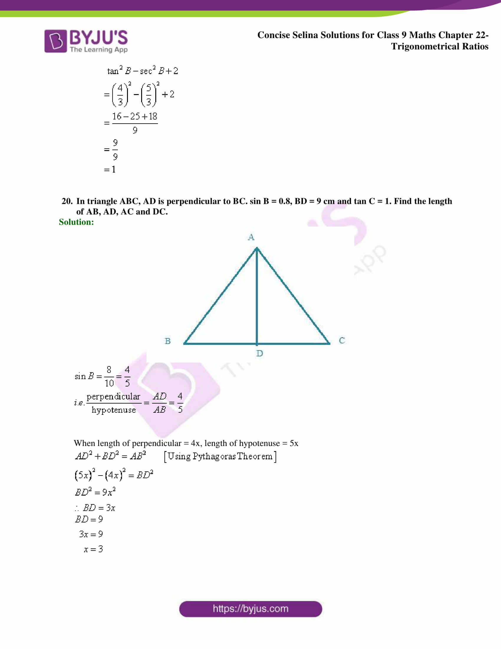 Concise Selina Solutions Class 9 Maths Chapter 22 Trigonometrical Ratios part 41