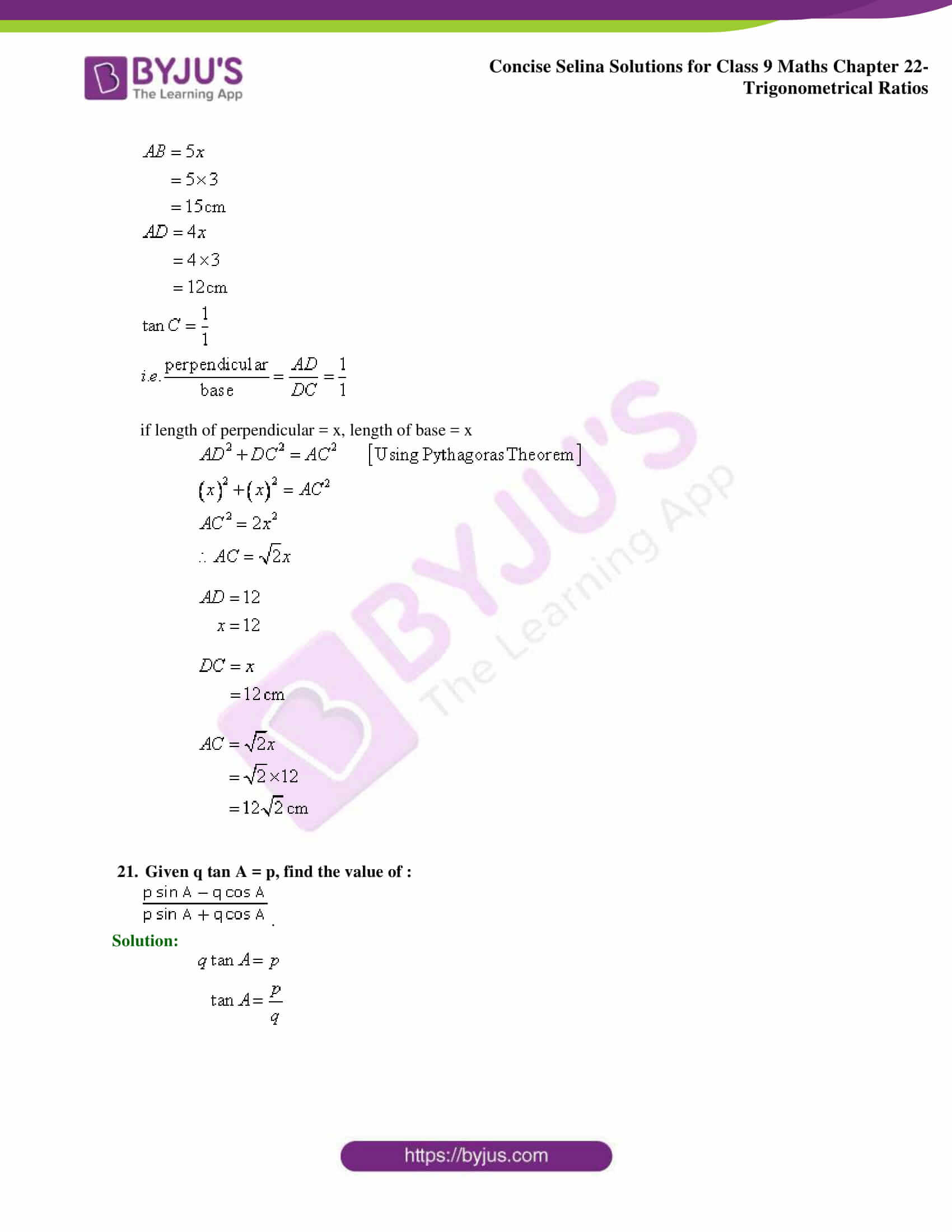 Concise Selina Solutions Class 9 Maths Chapter 22 Trigonometrical Ratios part 42