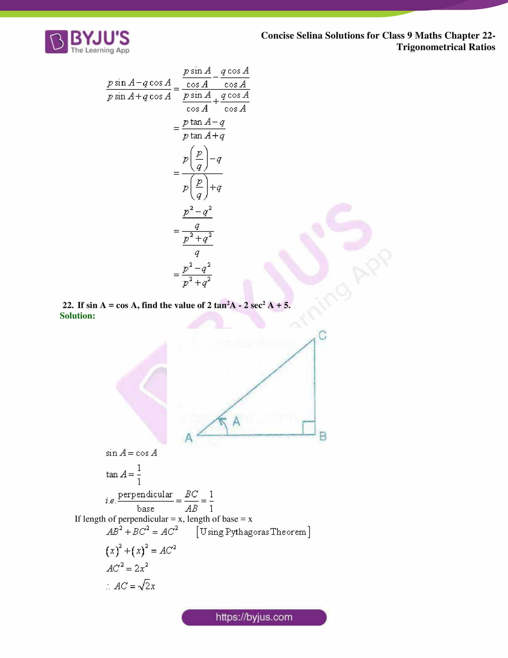 Concise Selina Solutions Class 9 Maths Chapter 22 Trigonometrical Ratios part 43