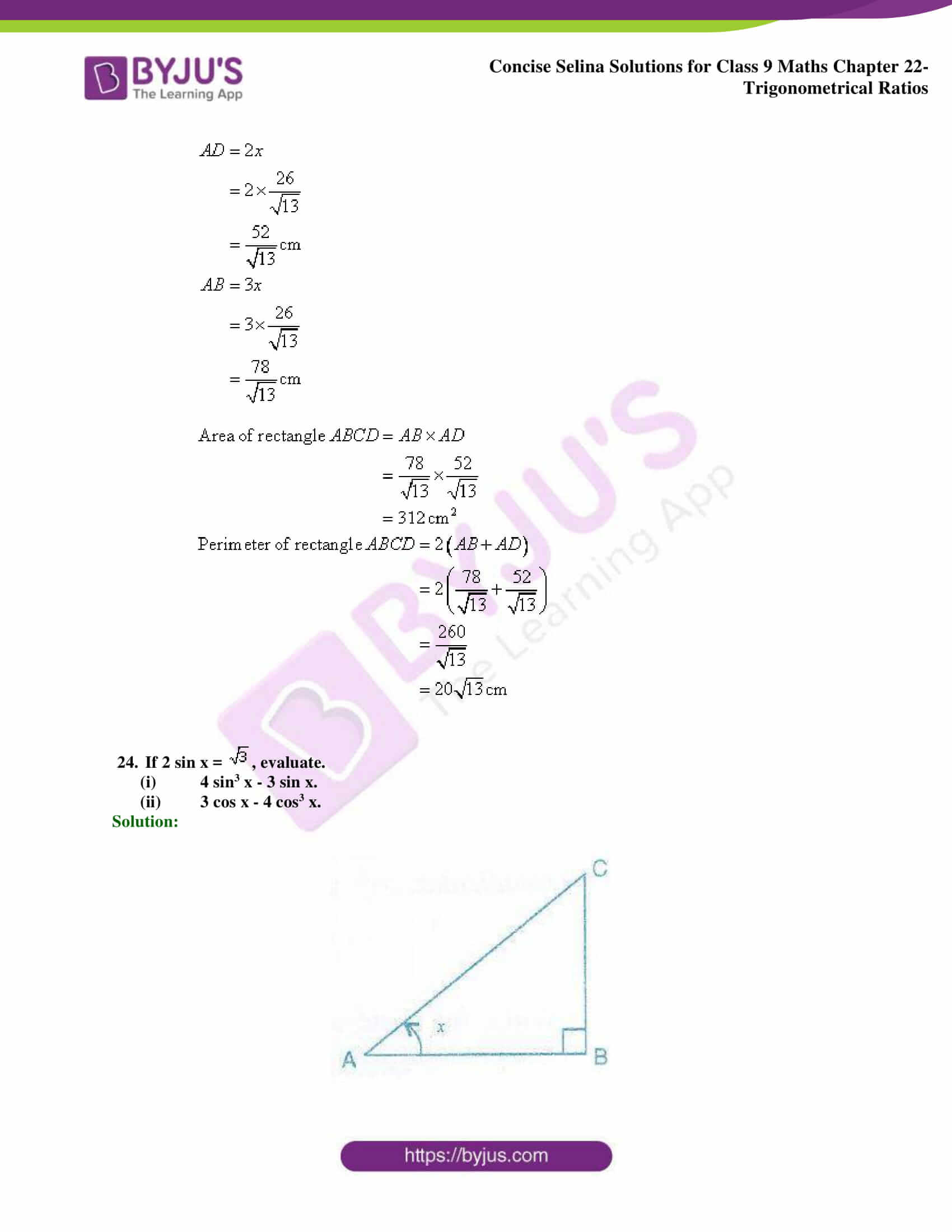 Concise Selina Solutions Class 9 Maths Chapter 22 Trigonometrical Ratios part 45