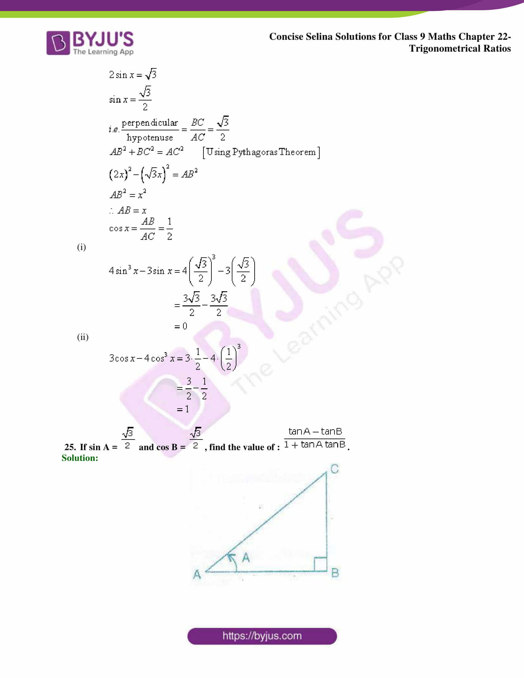 Concise Selina Solutions Class 9 Maths Chapter 22 Trigonometrical Ratios part 46
