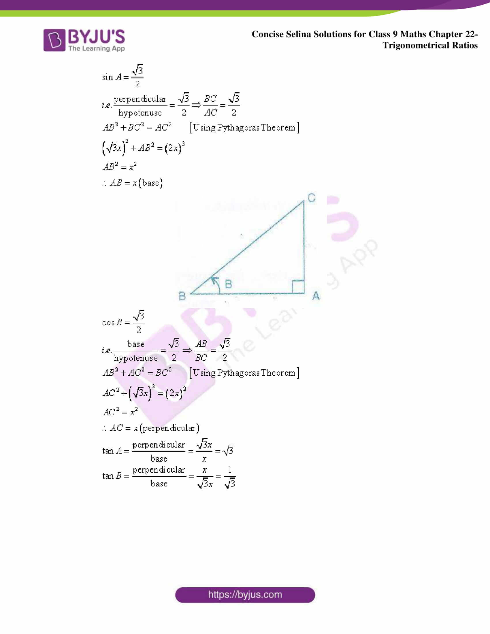 Concise Selina Solutions Class 9 Maths Chapter 22 Trigonometrical Ratios part 47