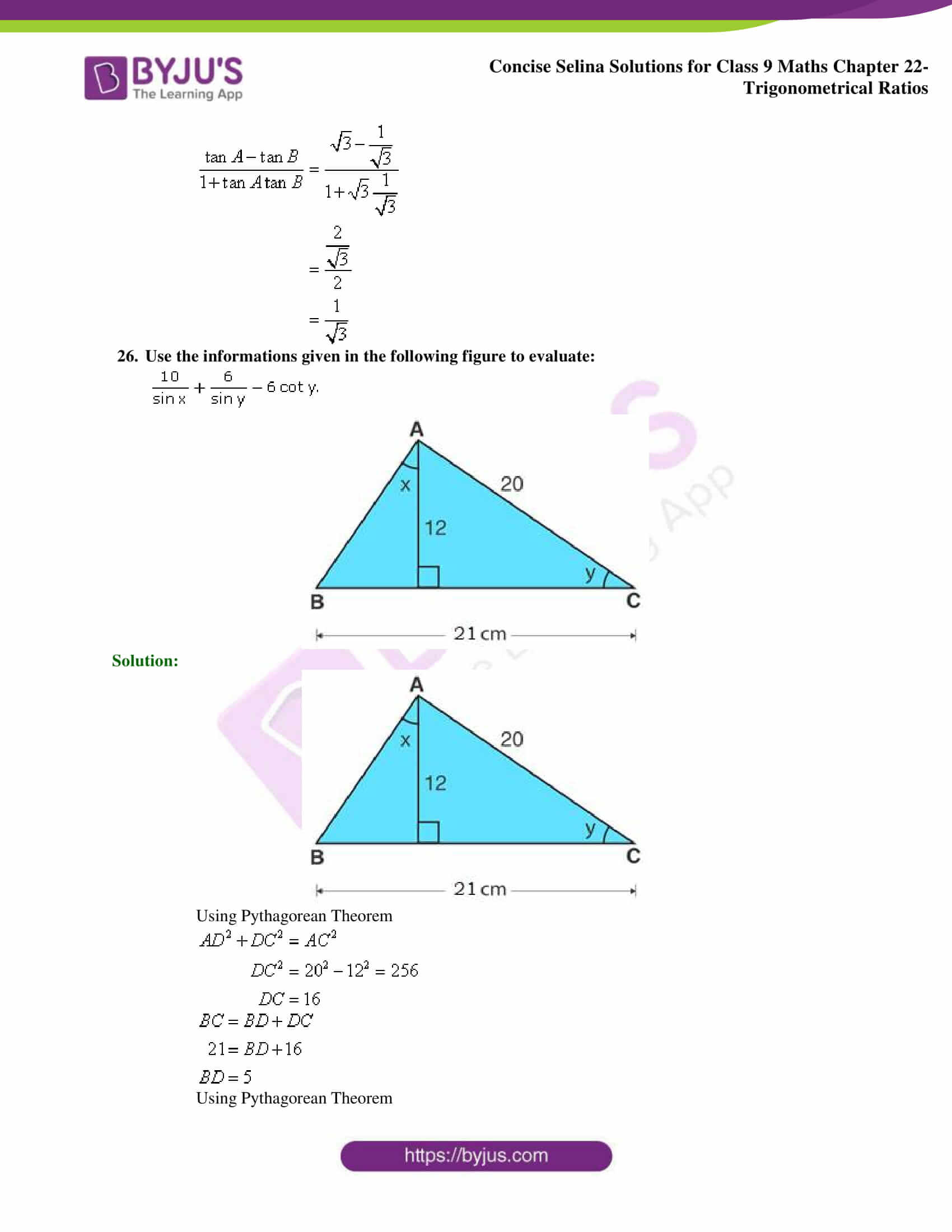 Concise Selina Solutions Class 9 Maths Chapter 22 Trigonometrical Ratios part 48