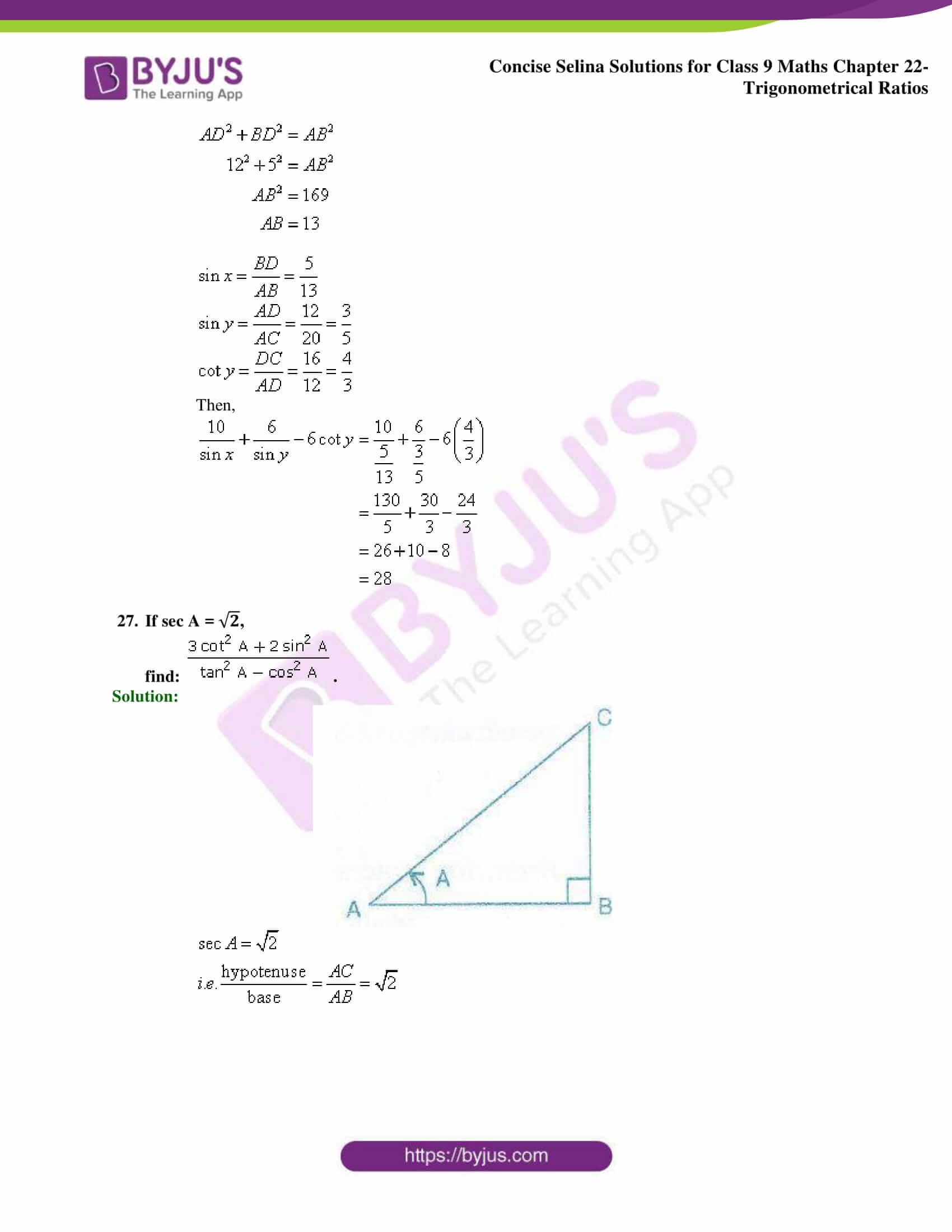 Concise Selina Solutions Class 9 Maths Chapter 22 Trigonometrical Ratios part 49