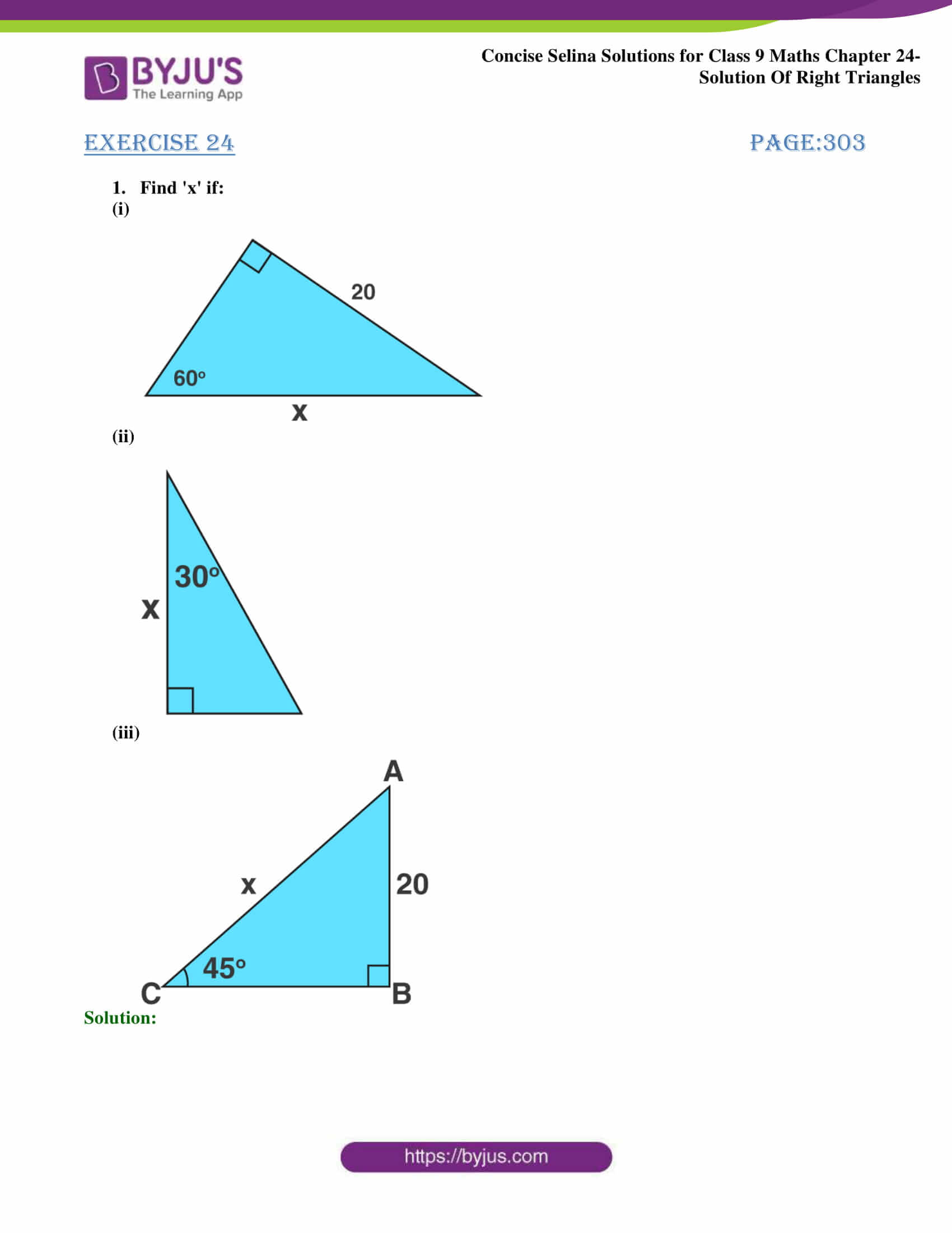 Concise Selina Solutions Class 9 Maths Chapter 24 Solution Of Right Triangles part 01