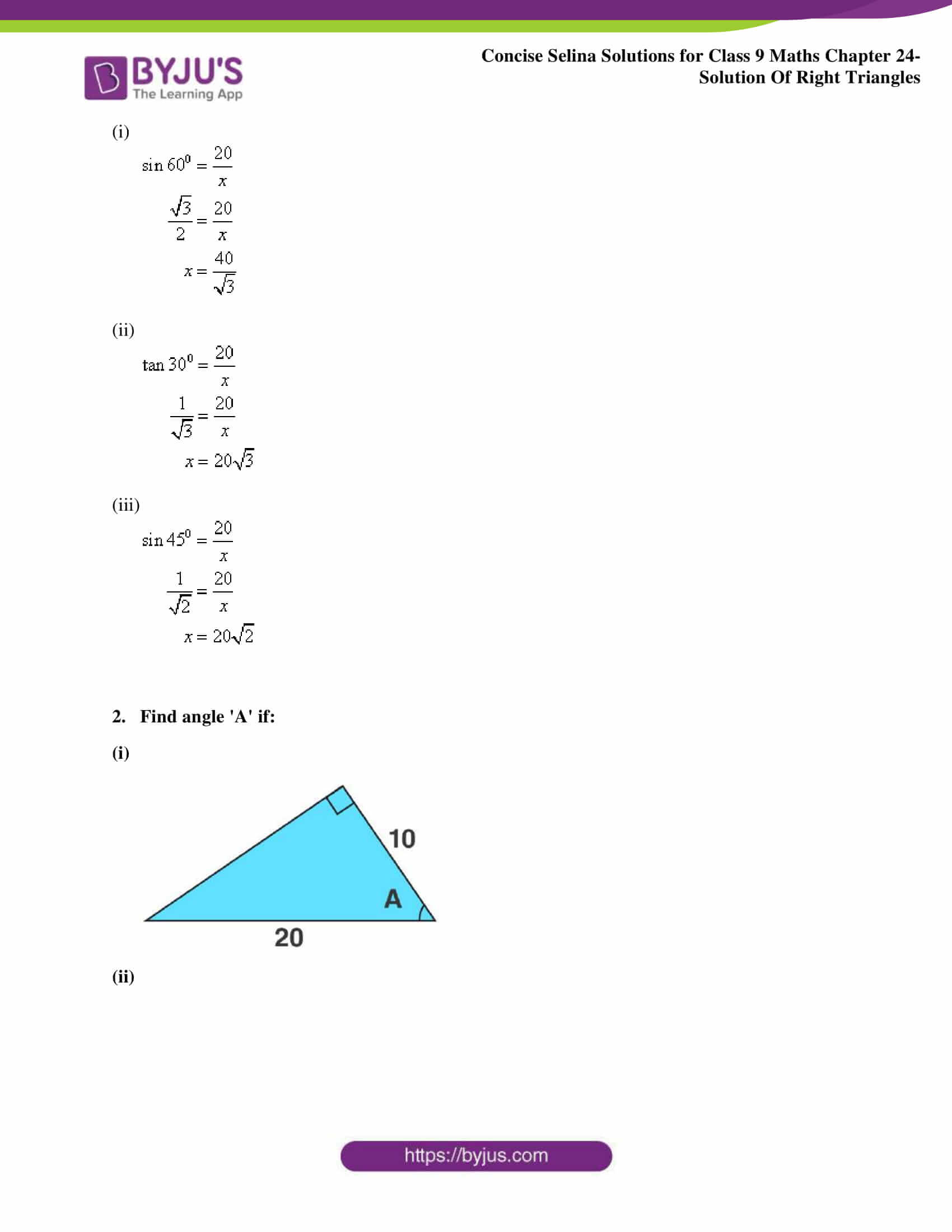 Concise Selina Solutions Class 9 Maths Chapter 24 Solution Of Right Triangles part 02