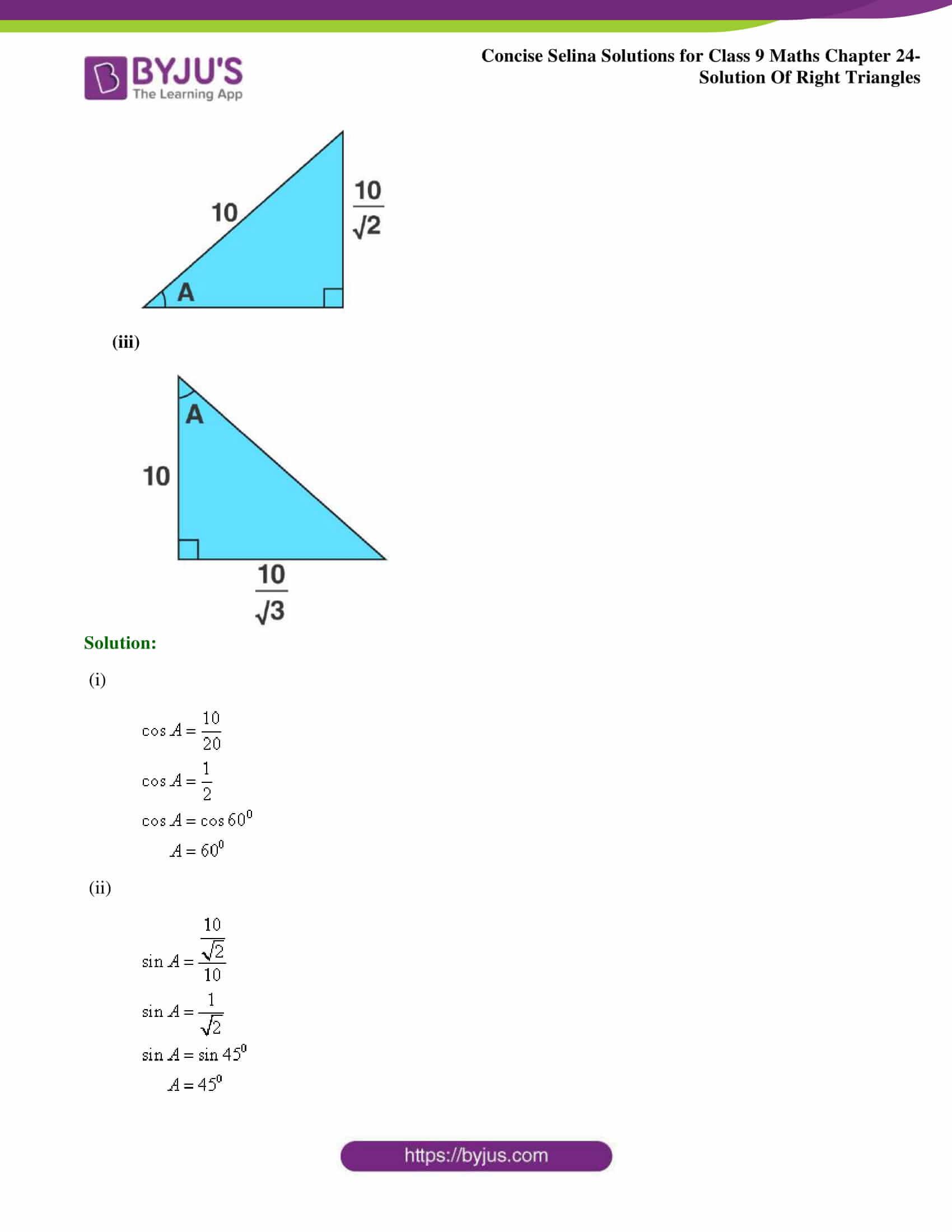 Concise Selina Solutions Class 9 Maths Chapter 24 Solution Of Right Triangles part 03
