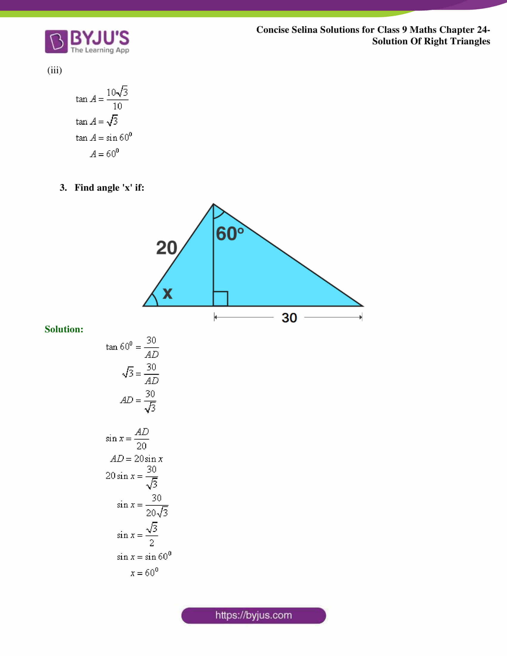 Concise Selina Solutions Class 9 Maths Chapter 24 Solution Of Right Triangles part 04